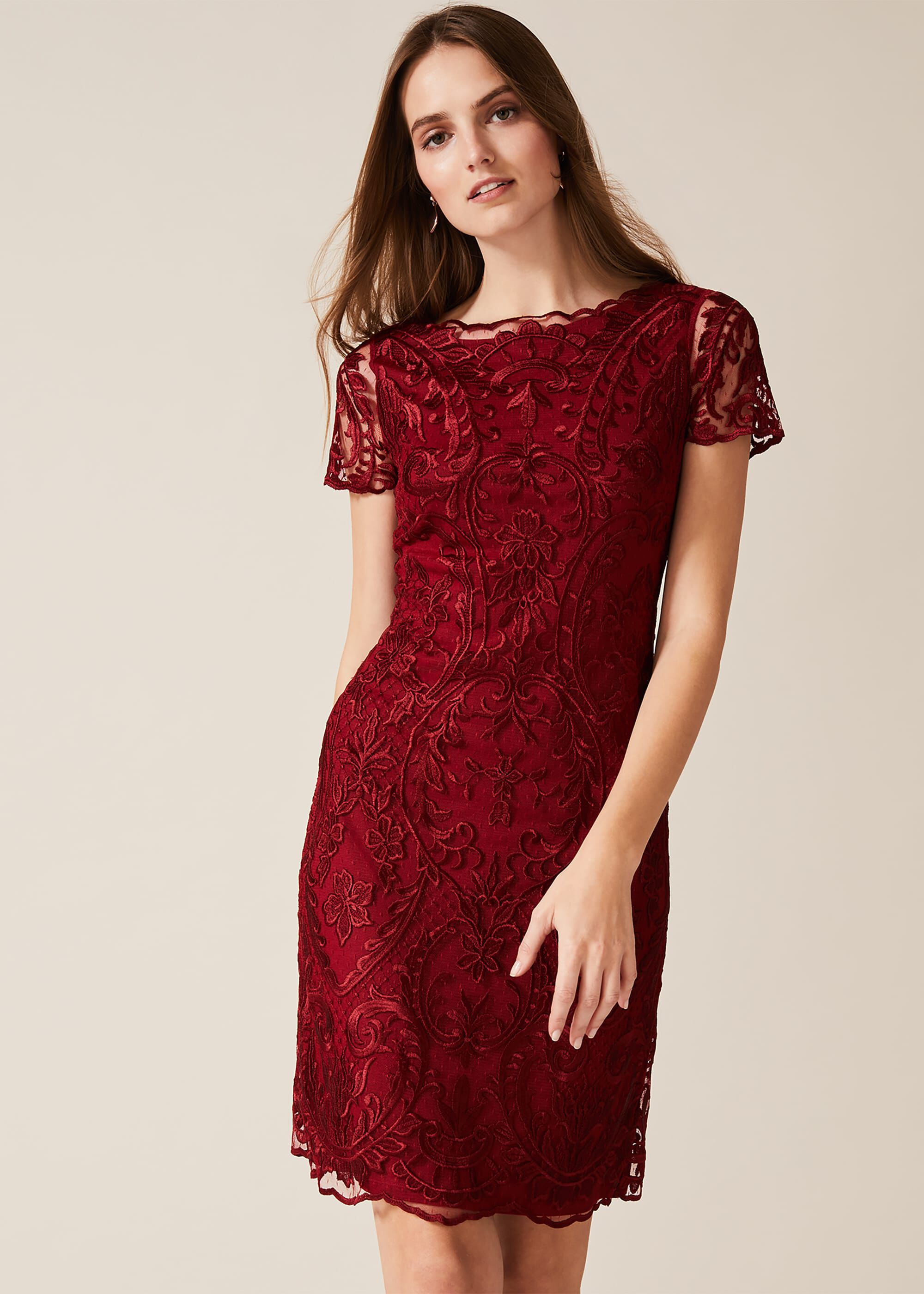 Phase Eight Lizzy Embroidered Dress, Red, Shift, Occasion Dress