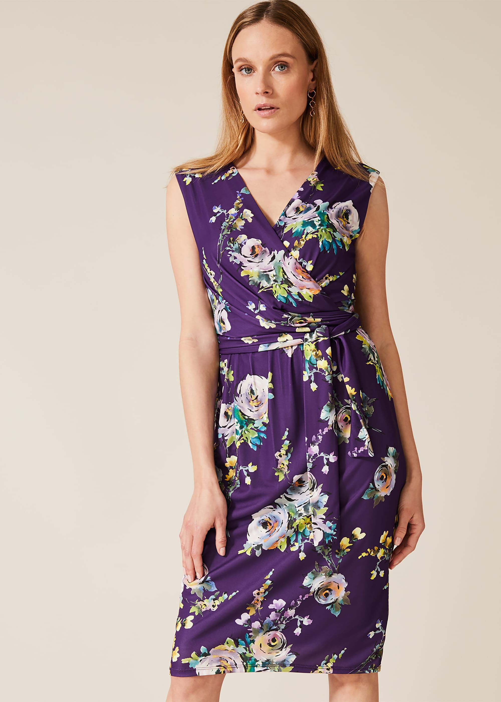 Phase Eight Franchesca Floral Print Dress, Purple, Floral, Occasion Dress