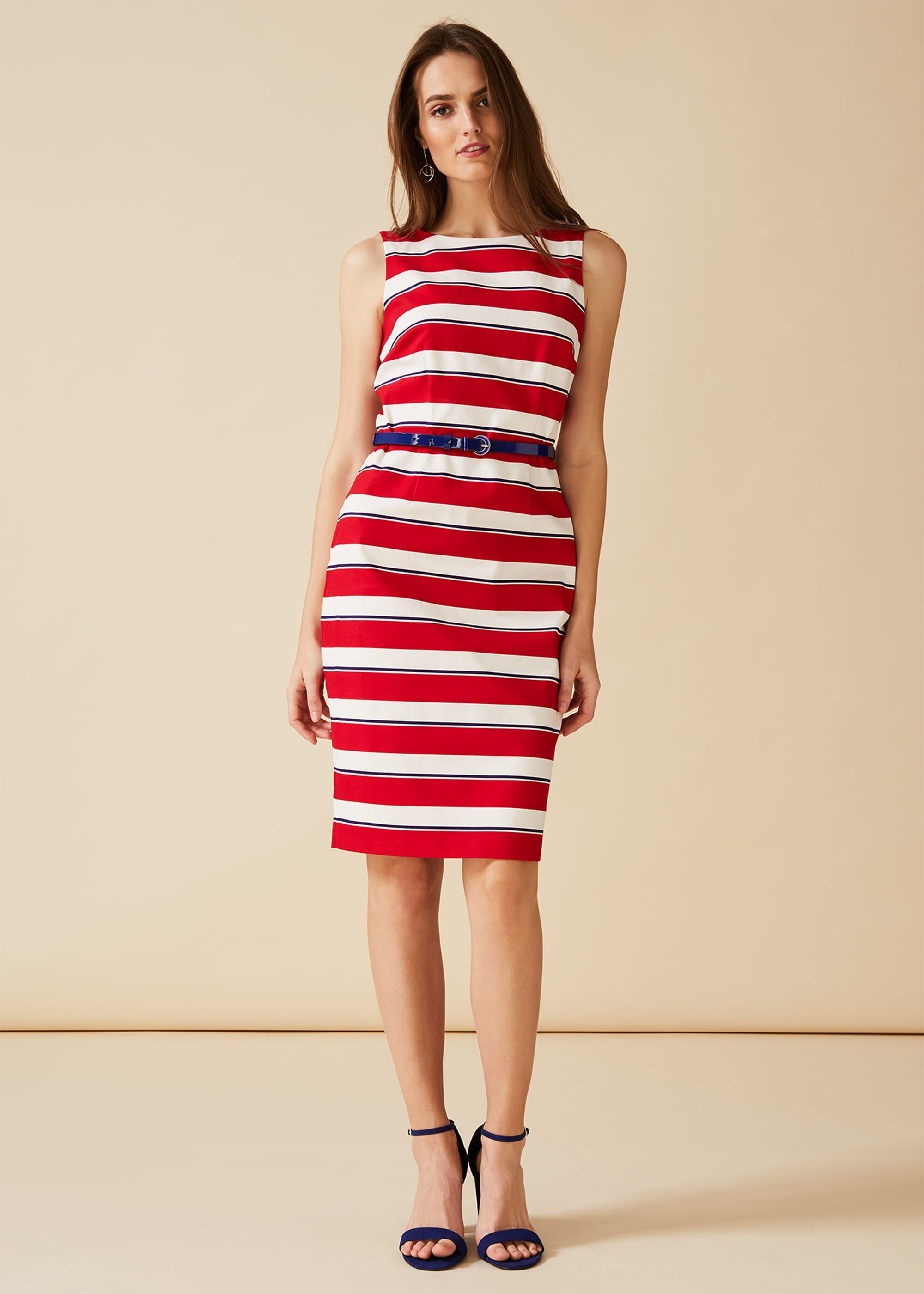 Phase Eight Briony Stripe Dress, Red, Shift, Occasion Dress