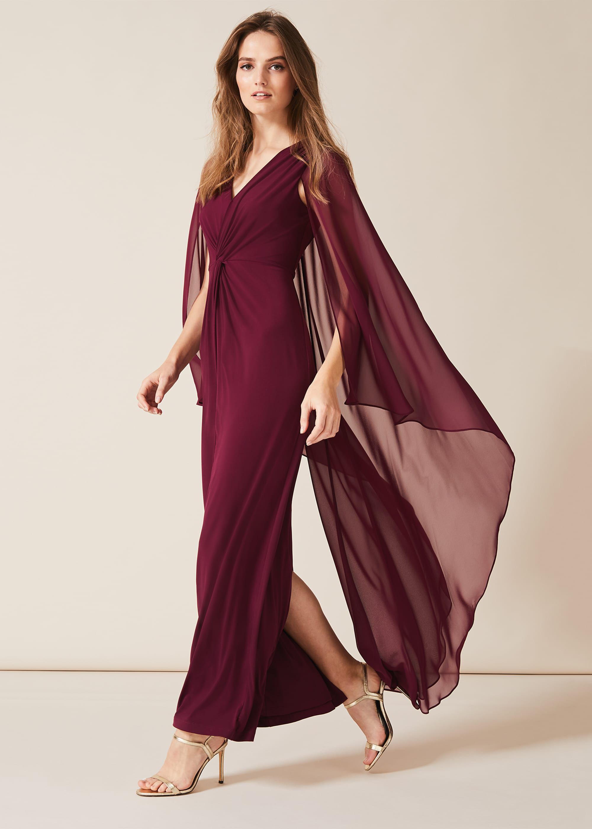 Phase Eight Edna Cape Maxi Dress, Red, Maxi, Occasion Dress