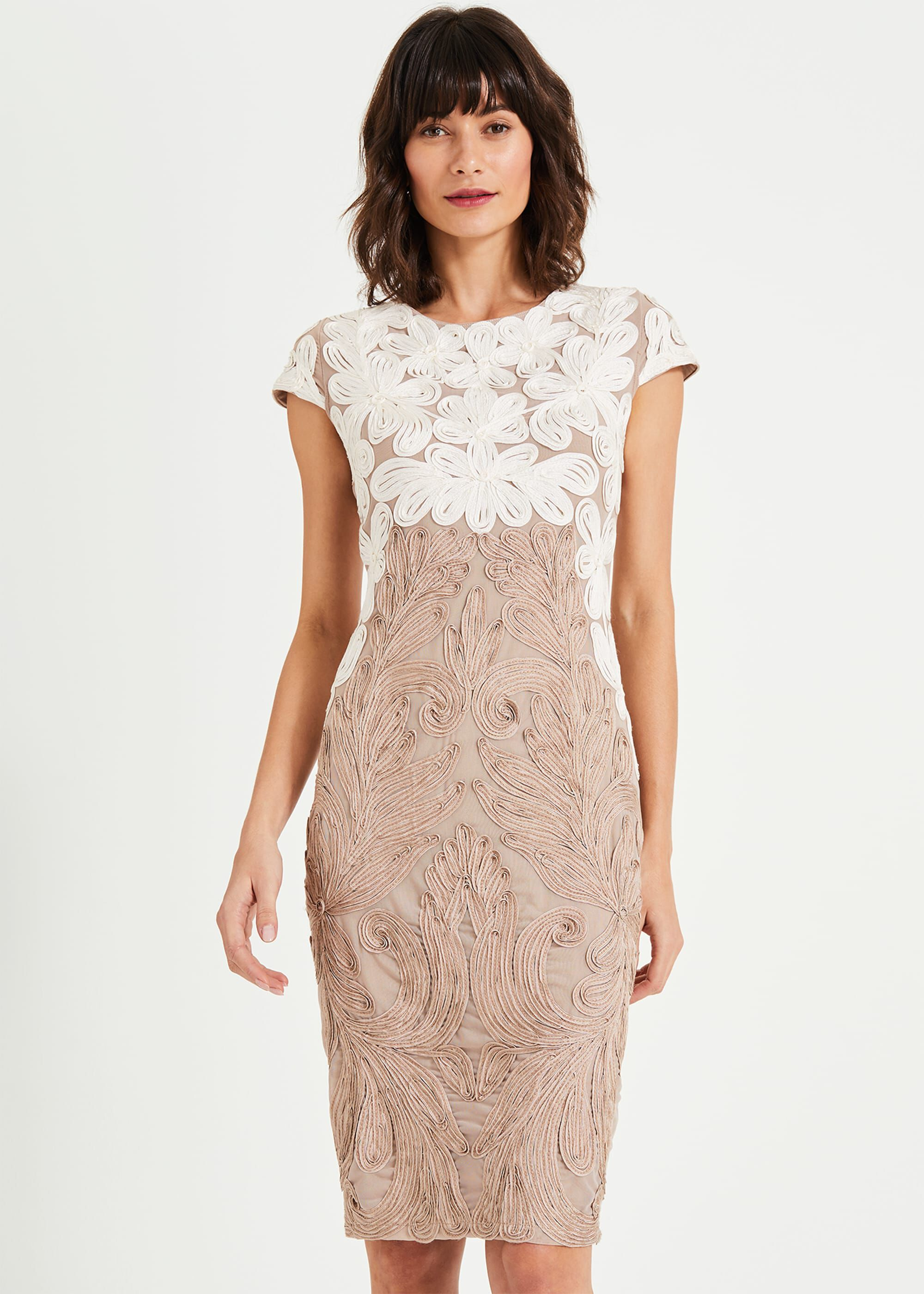 Phase Eight Catheleen Tapework Lace Dress, Cream, Fitted, Occasion Dress