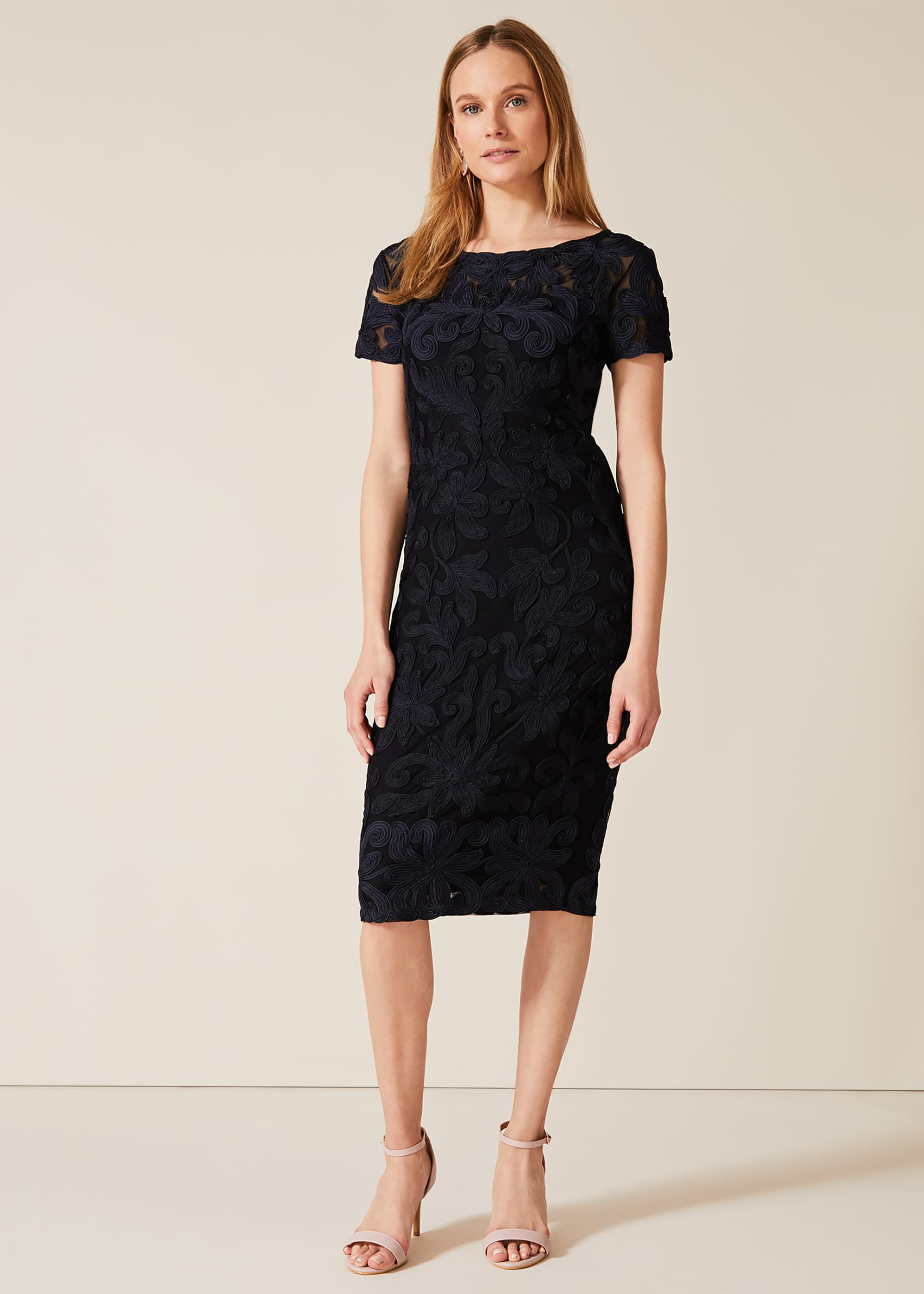 Phase Eight Anette Tapework Dress, Black, Fitted, Occasion Dress