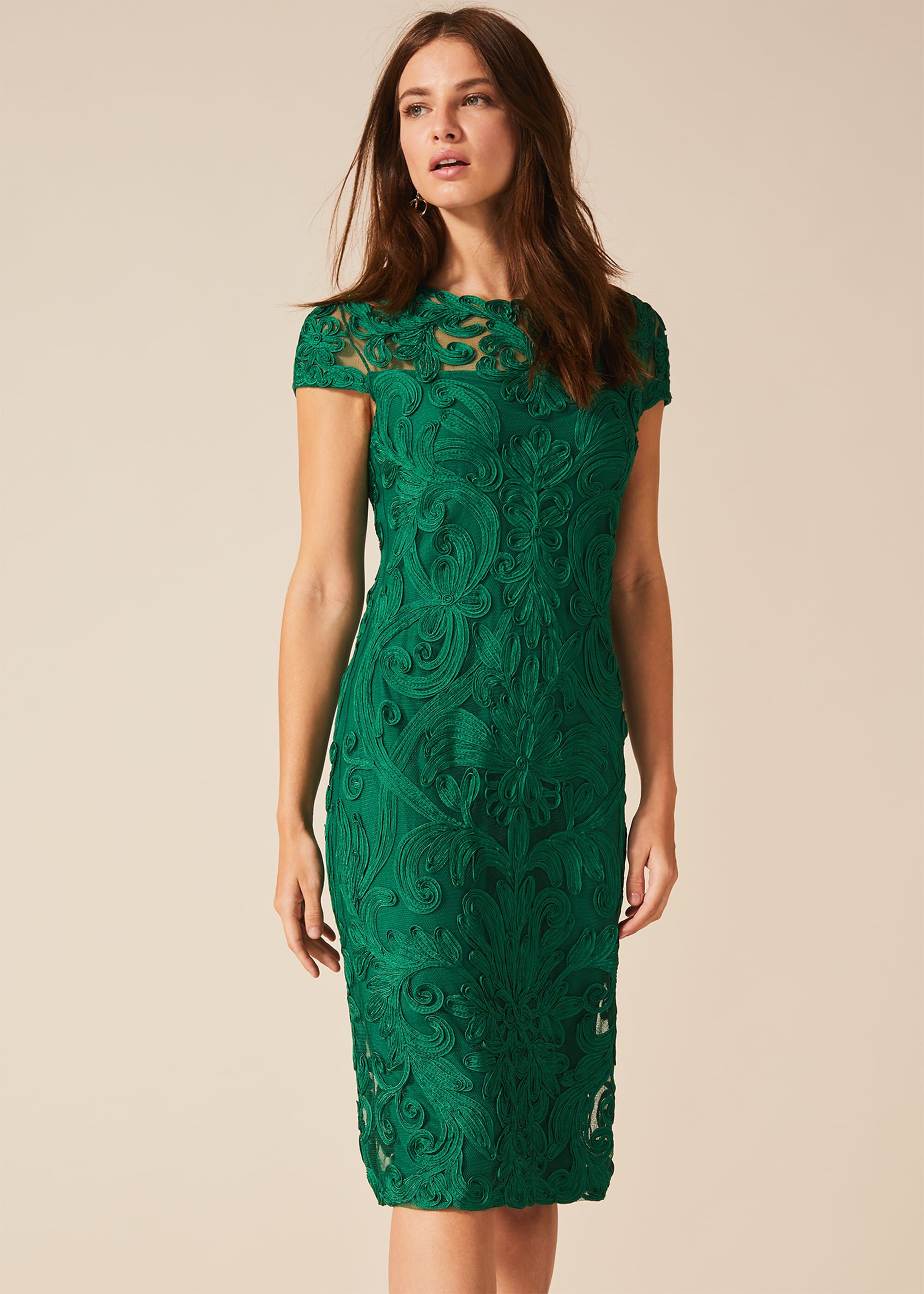 Phase Eight Chantal Tapework Dress, Green, Shift, Occasion Dress
