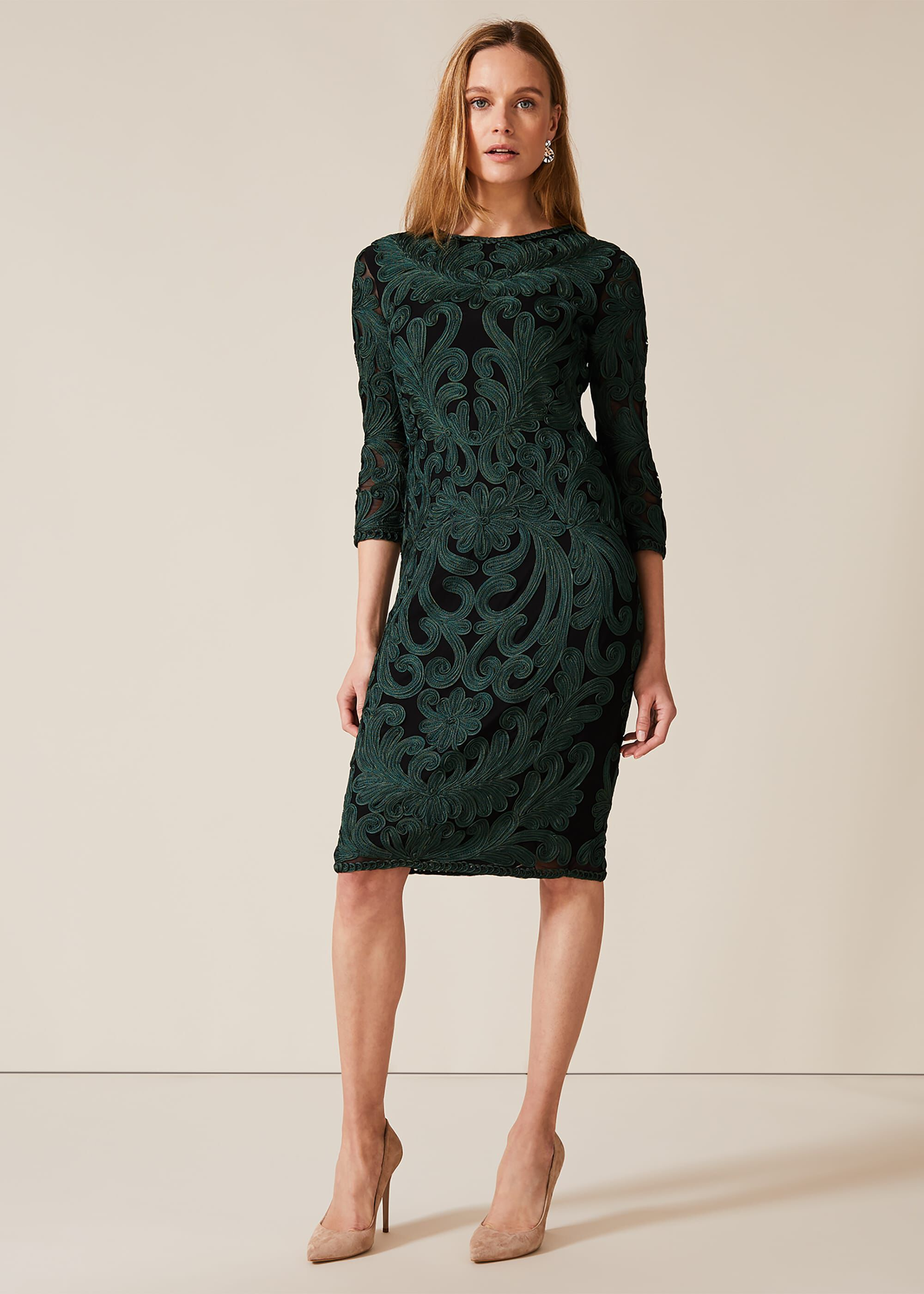 Phase Eight Benita Sleeved Tapework Dress, Black, Fitted, Occasion Dress