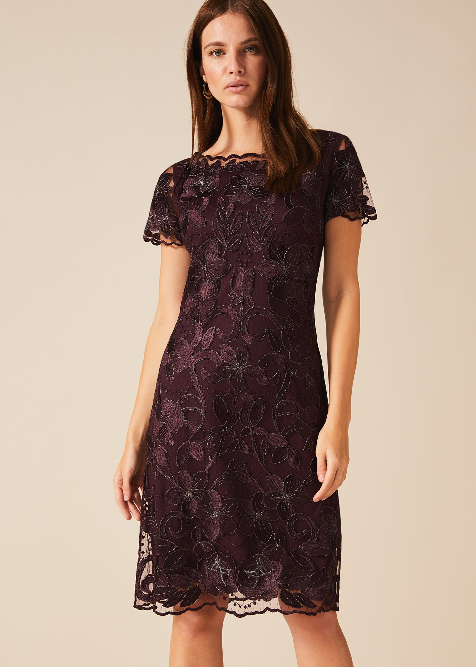 Phase Eight Nessa Embroidered Dress, Purple, Shift, Occasion Dress