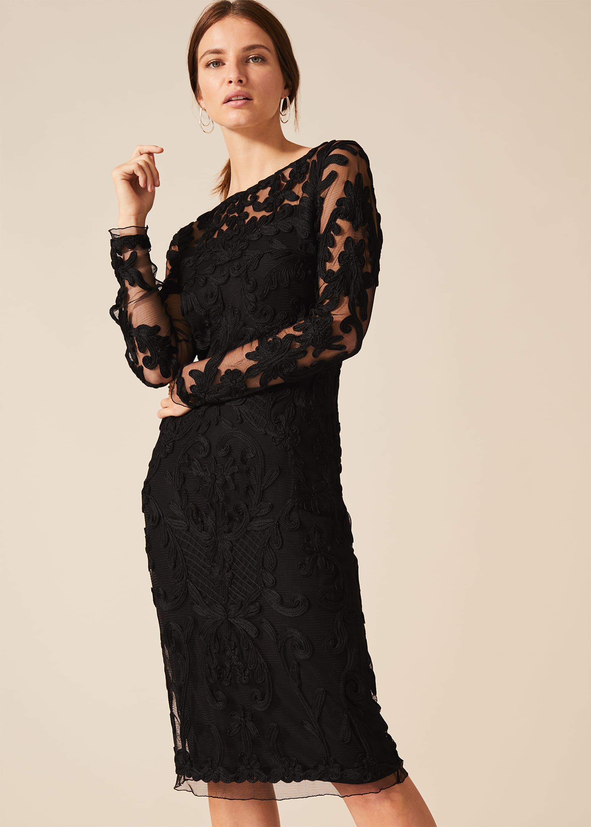 Phase Eight Nikita Tapework Dress, Black, Cocktail, Occasion Dress