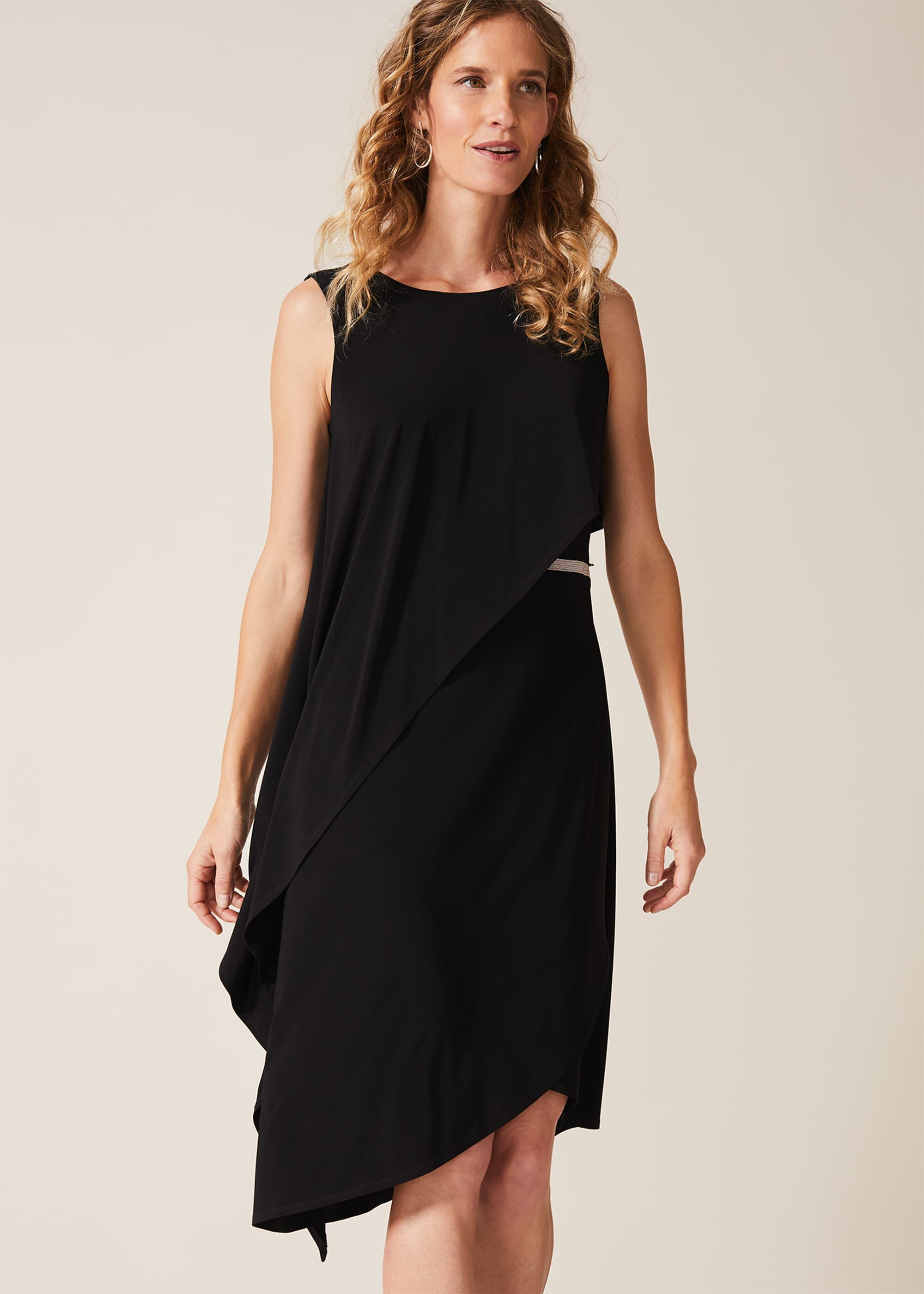 Phase Eight Julitta Bead Trim Overlay Dress, Black, Jersey, Occasion Dress