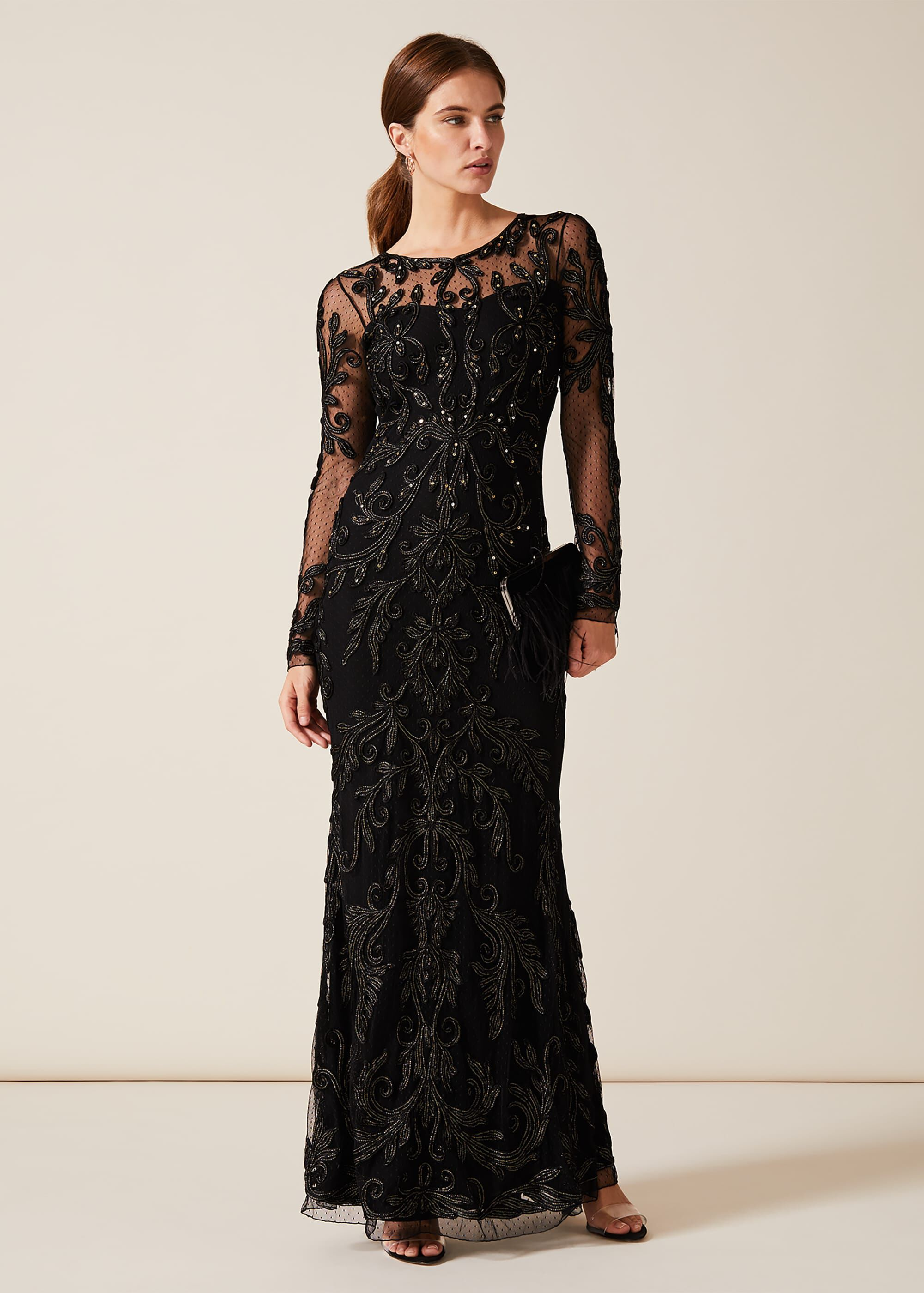 Phase Eight Contessa Tapework Lace Dress, Black, Maxi, Occasion Dress