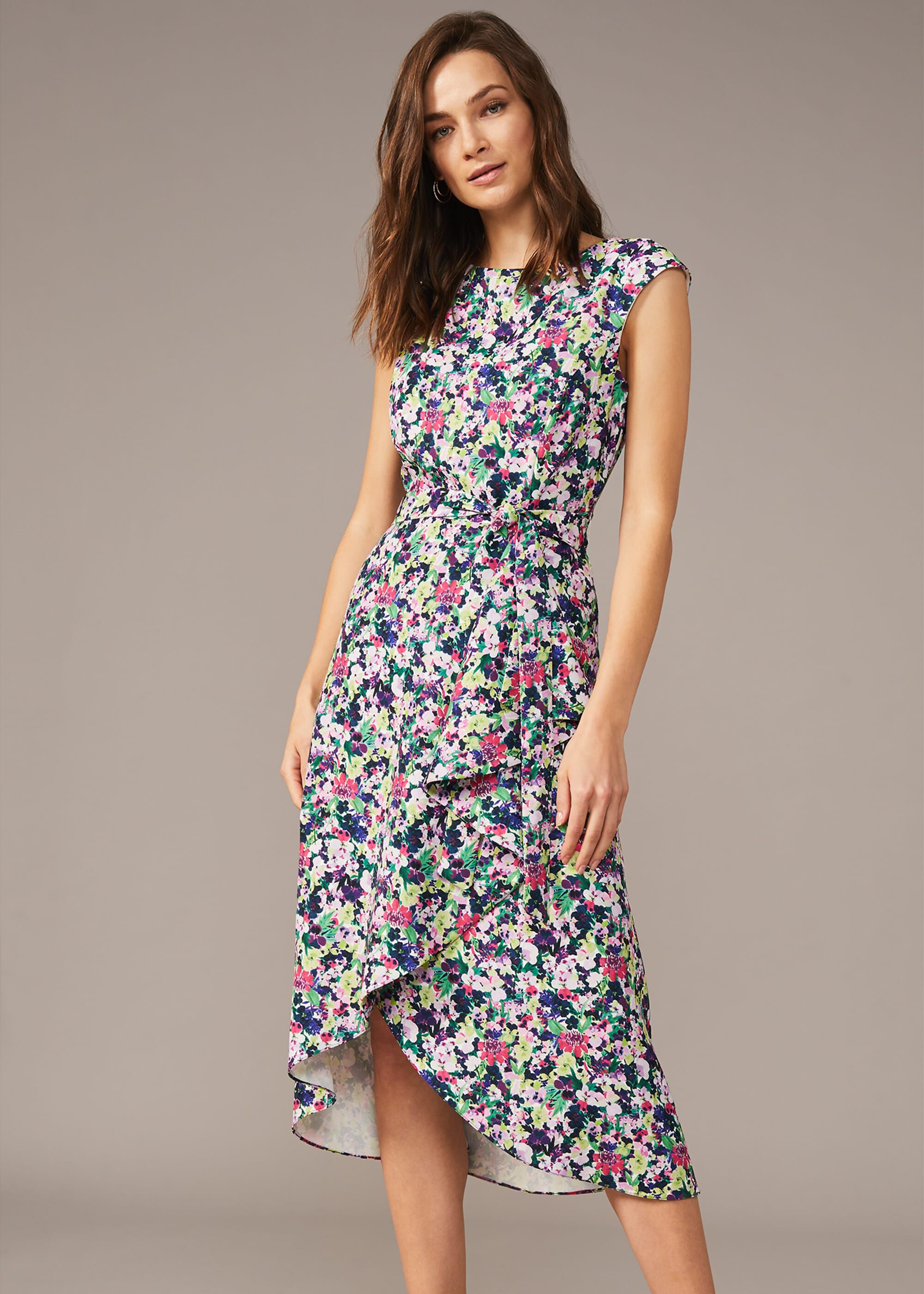 Phase Eight Arya Floral Frill Hem Dress, Multicoloured, Fit & Flare, Occasion Dress