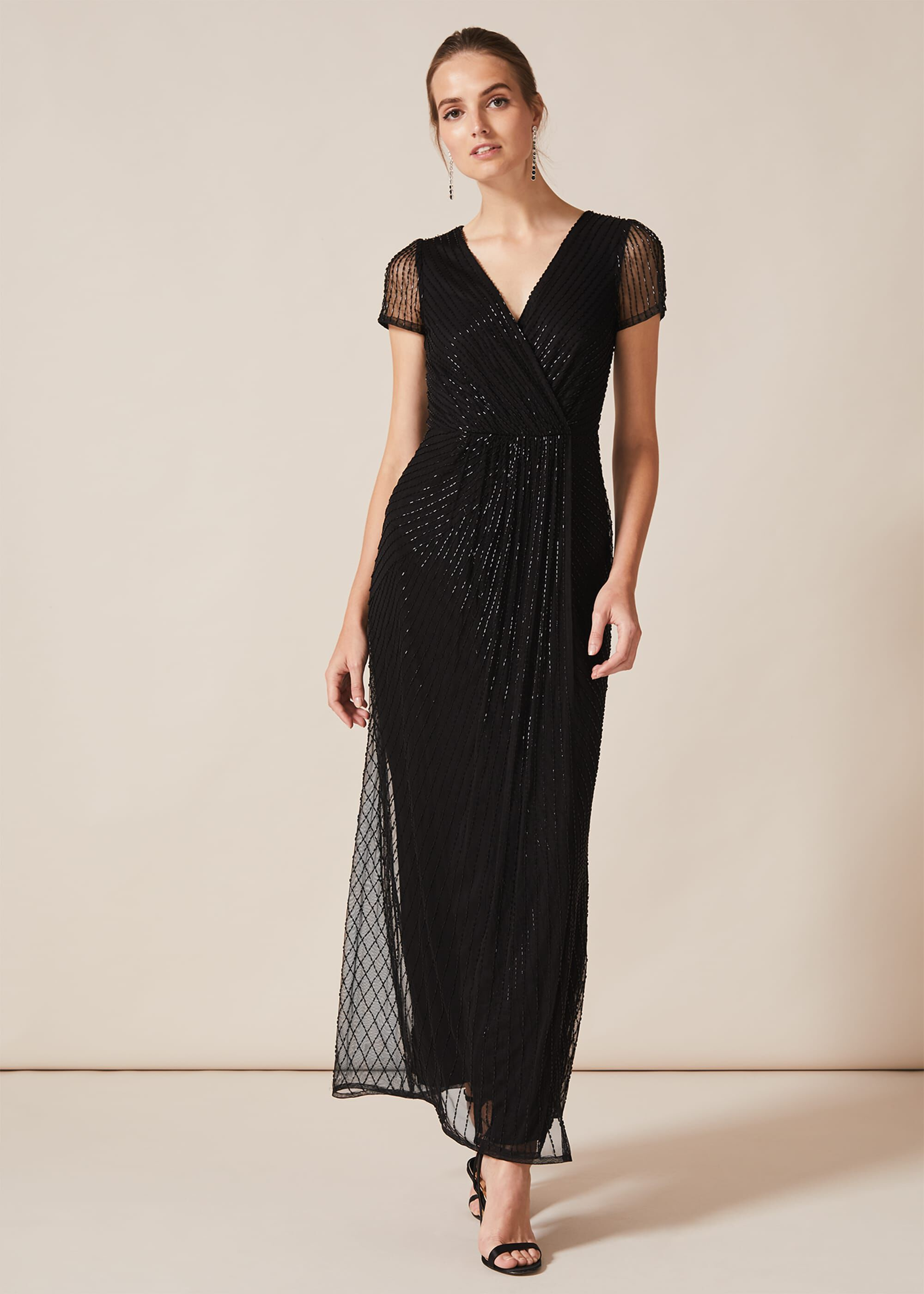 Phase Eight Natasia Beaded Maxi Dress, Black, Maxi, Occasion Dress