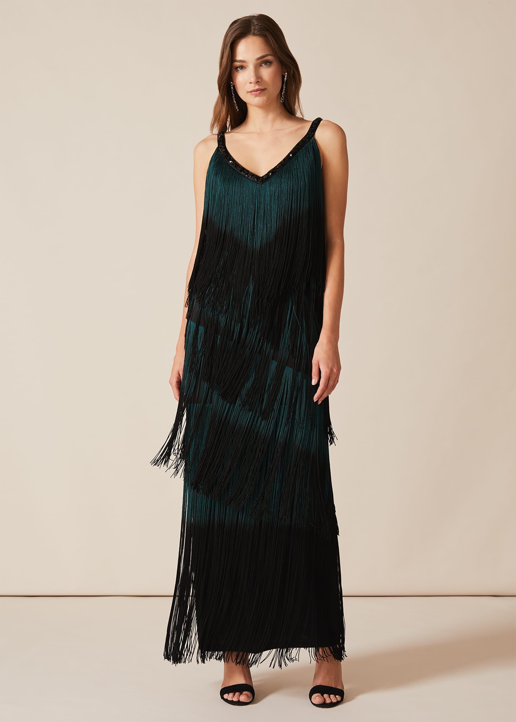 Phase Eight Tina Tassel Dress, Black, Maxi, Occasion Dress