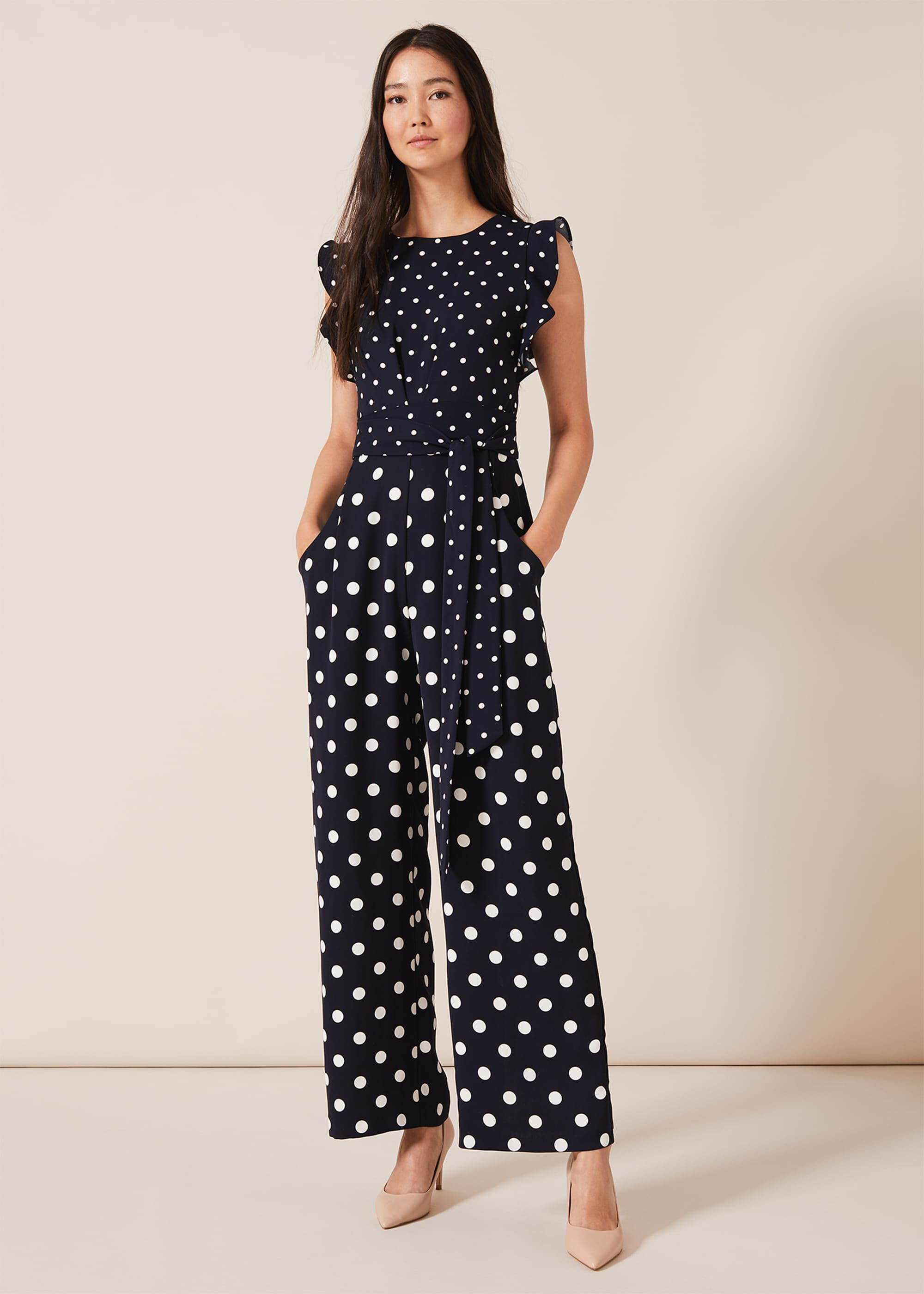 Phase Eight Victoriana Spot Jumpsuit, Blue, Jumpsuit, Occasion Dress