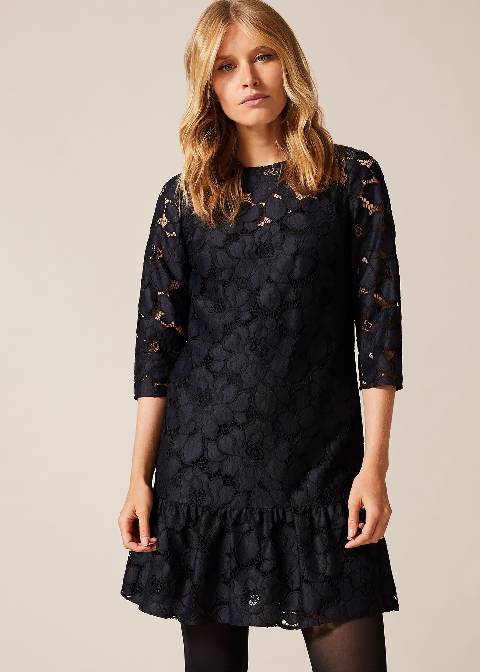 Phase Eight Arla Lace Dress, Black, Shift, Occasion Dress