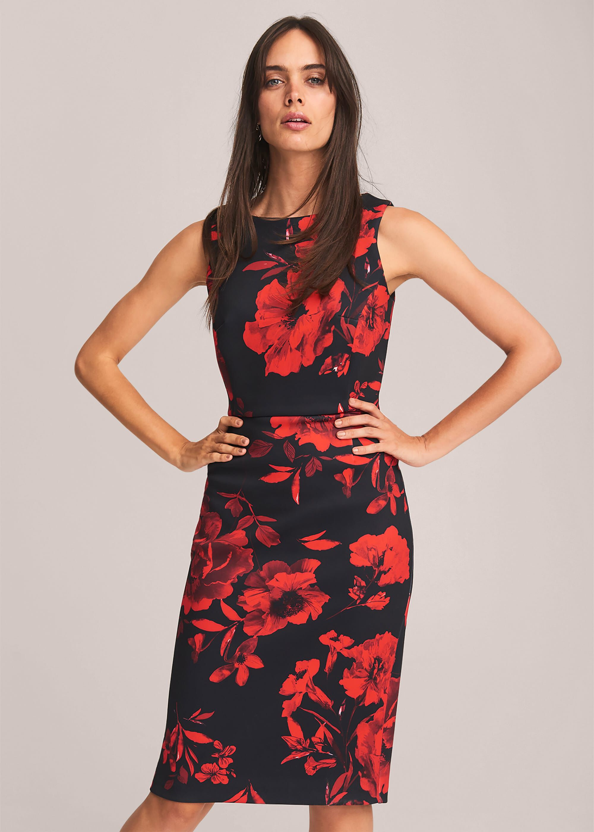 Phase Eight Rose Double Layer Scuba Dress, Black, Fitted