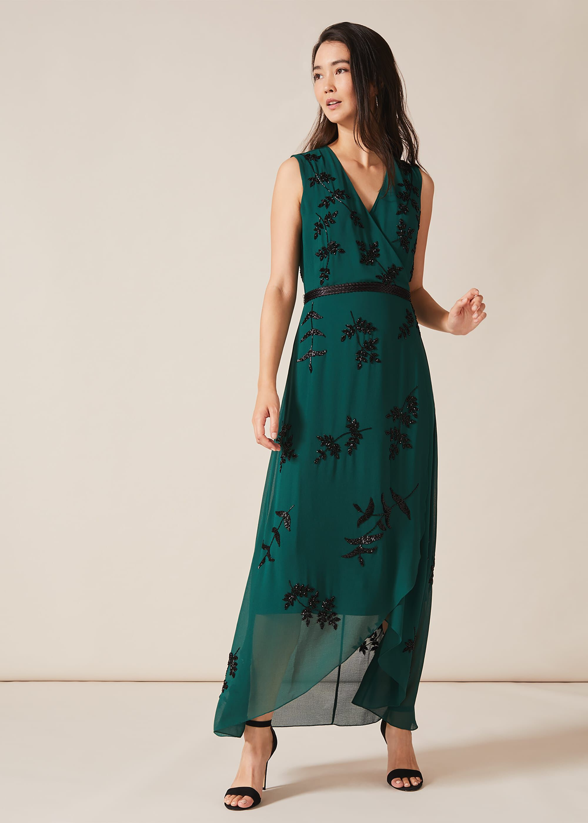 Phase Eight Serena Beaded Dress, Green, Maxi, Occasion Dress