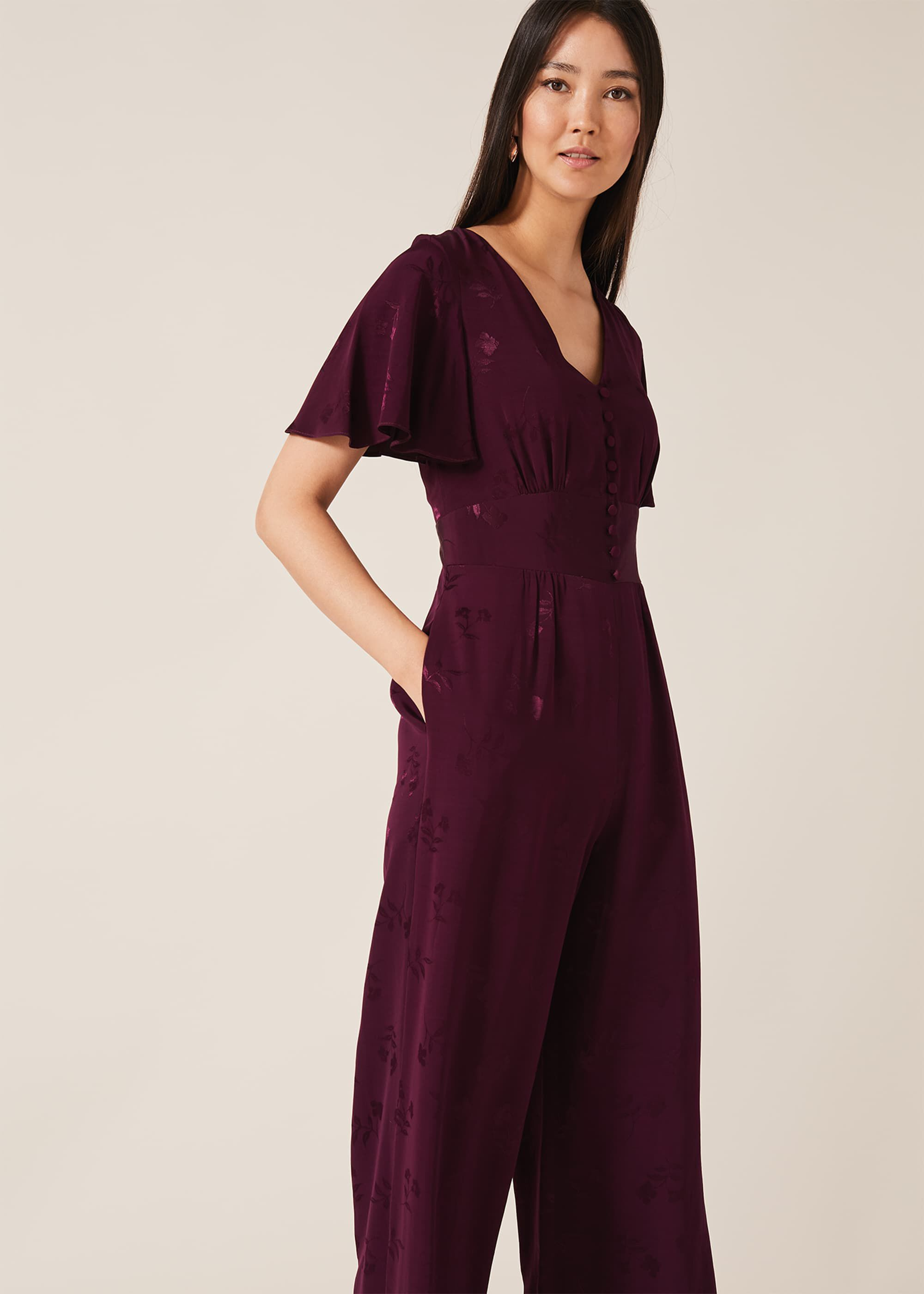 Phase Eight Josie Jacquard Jumpsuit, Purple, Jumpsuit