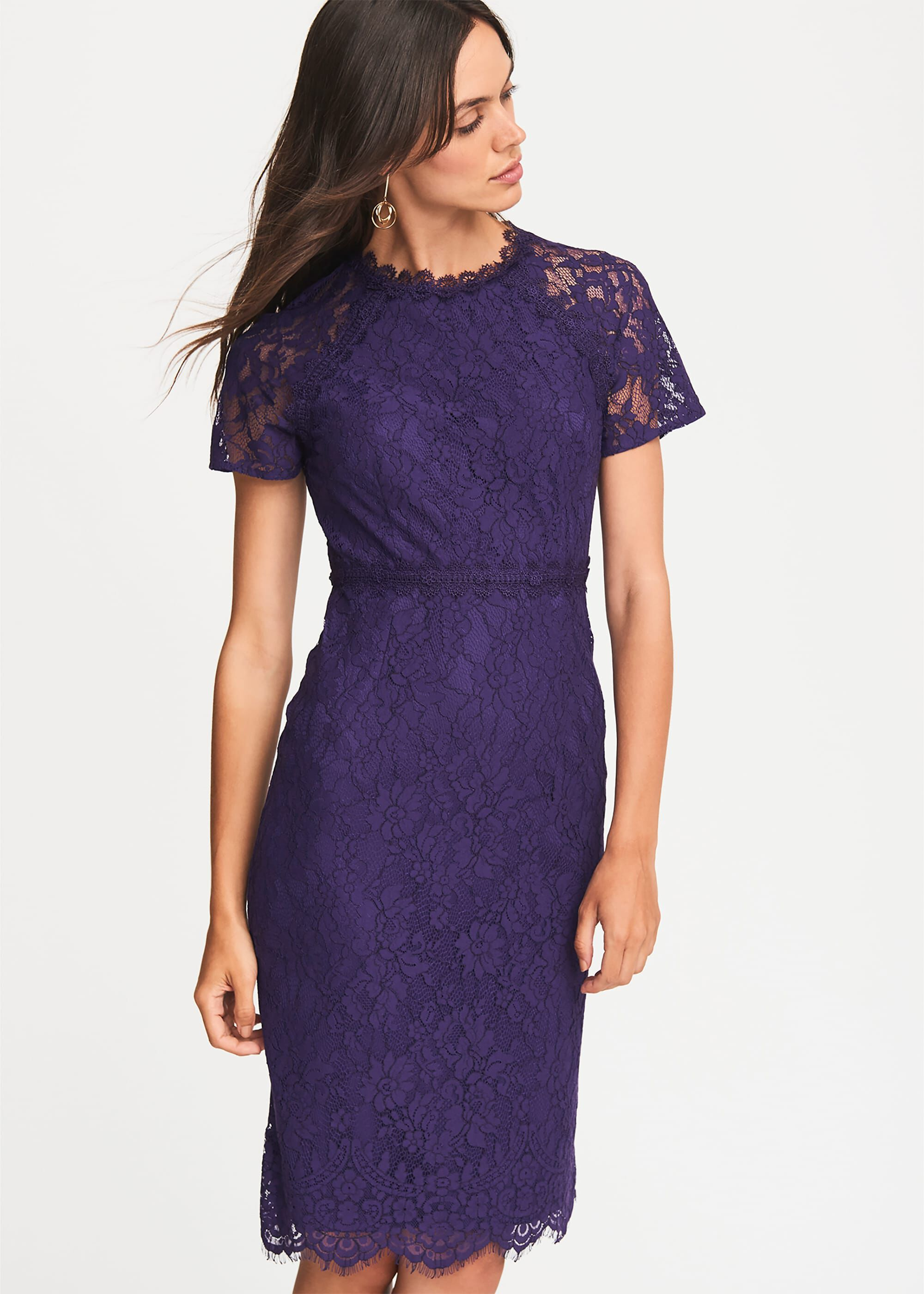 Phase Eight Mirabel Lace Dress, Purple, Fitted