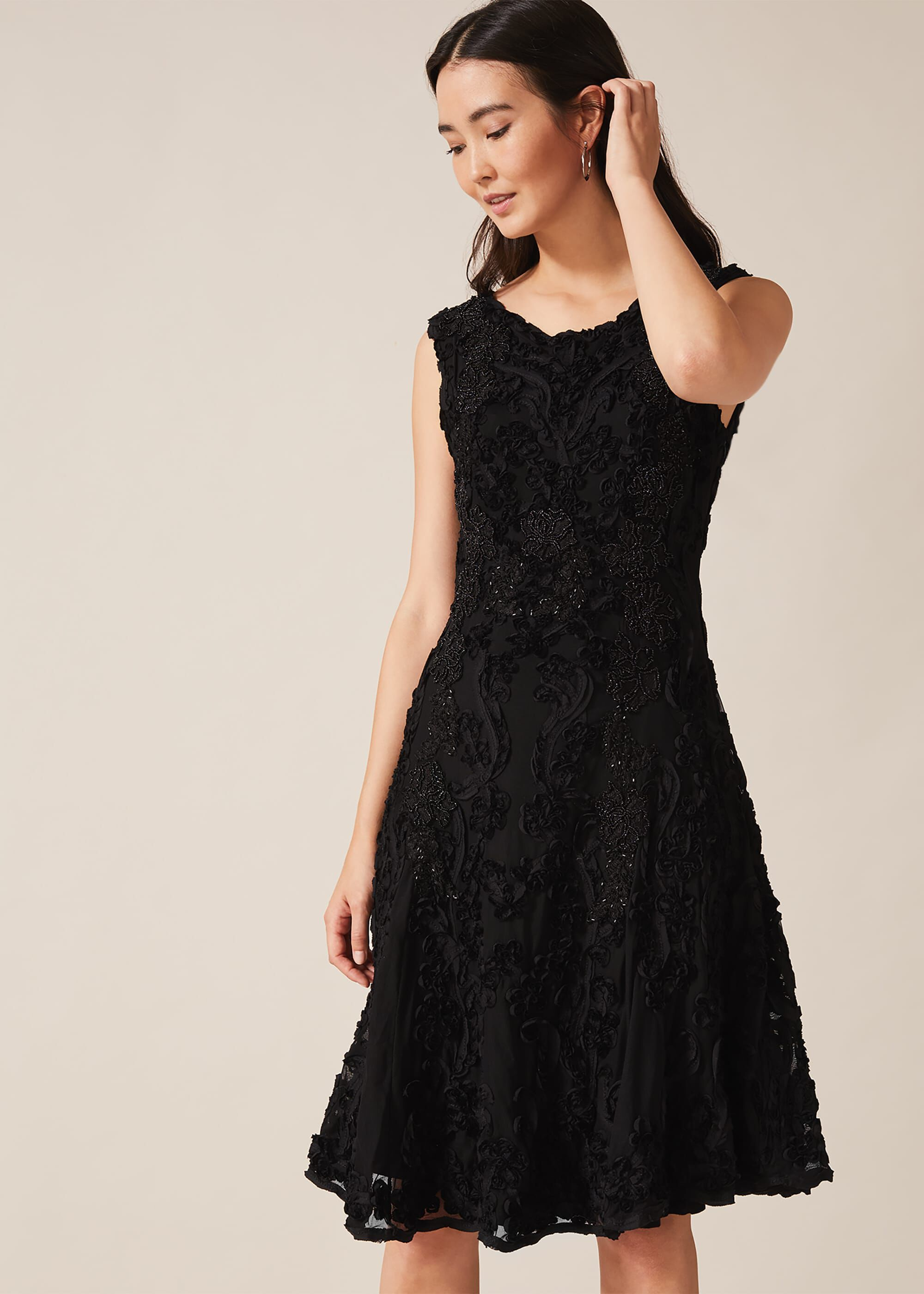 Phase Eight Penelope Tapework Lace Dress, Black, Fit & Flare, Occasion Dress
