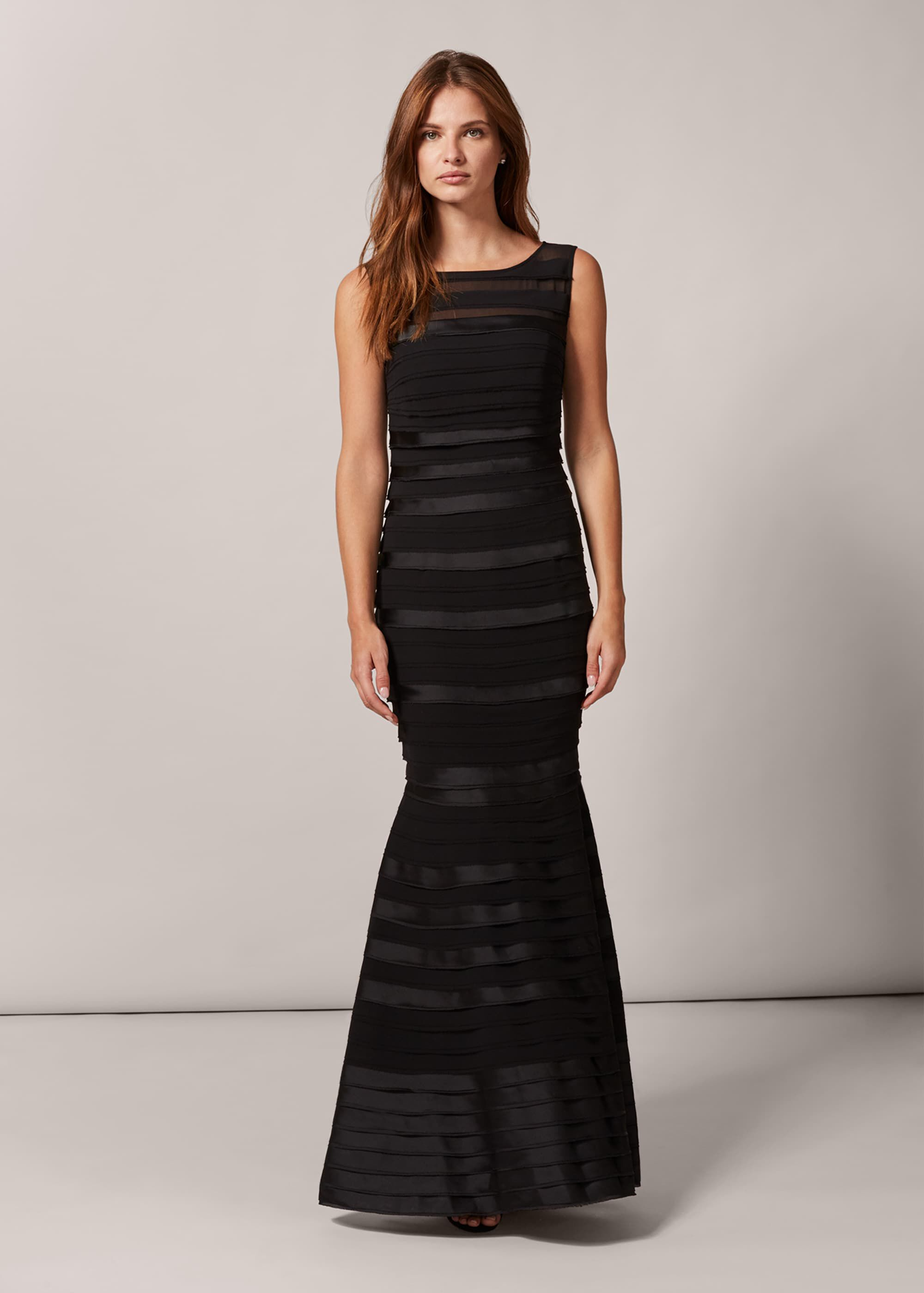 Phase Eight Shannon Layered Maxi Dress, Black, Maxi, Occasion Dress