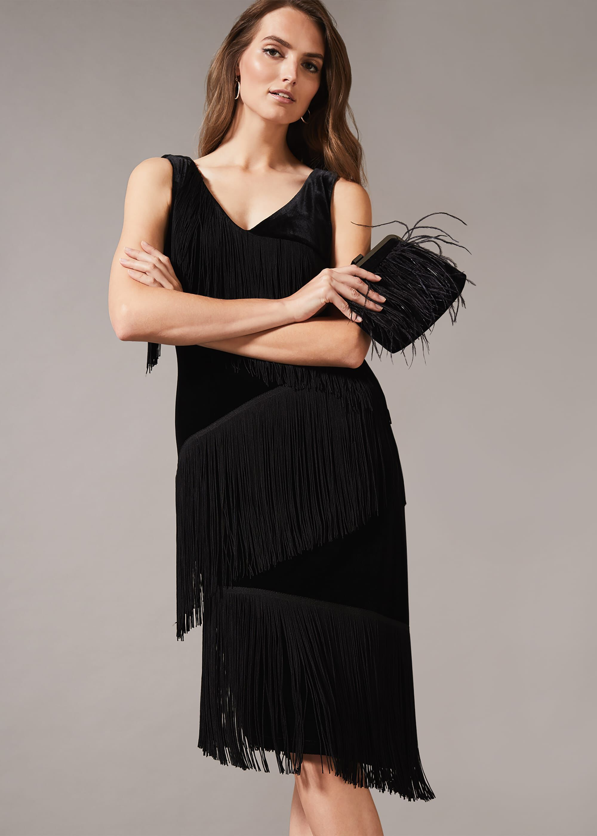 1920s Dresses UK | Flapper, Gatsby, Downton Abbey Dress Phase Eight Miya Velvet Fringe Dress Black Shift Occasion Dress £99.00 AT vintagedancer.com