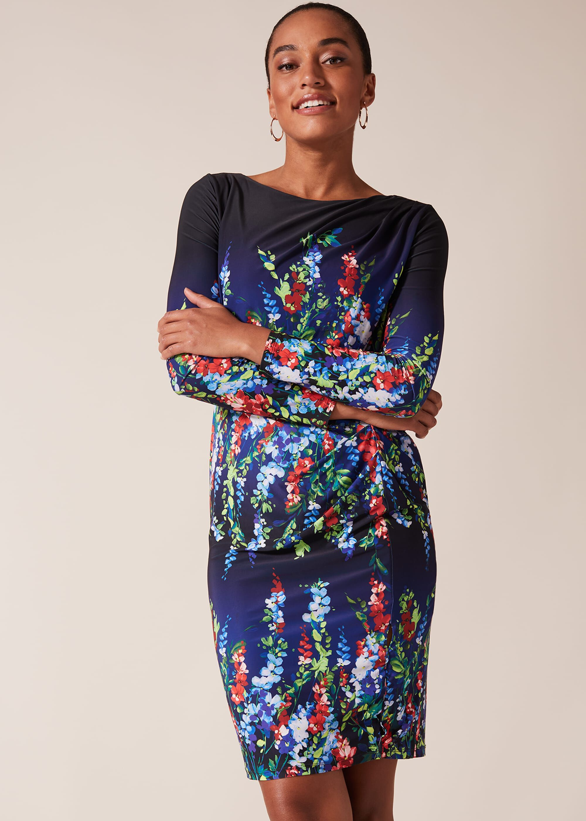 Phase Eight Kris Floral Placement Print Dress, Multicoloured, Fitted