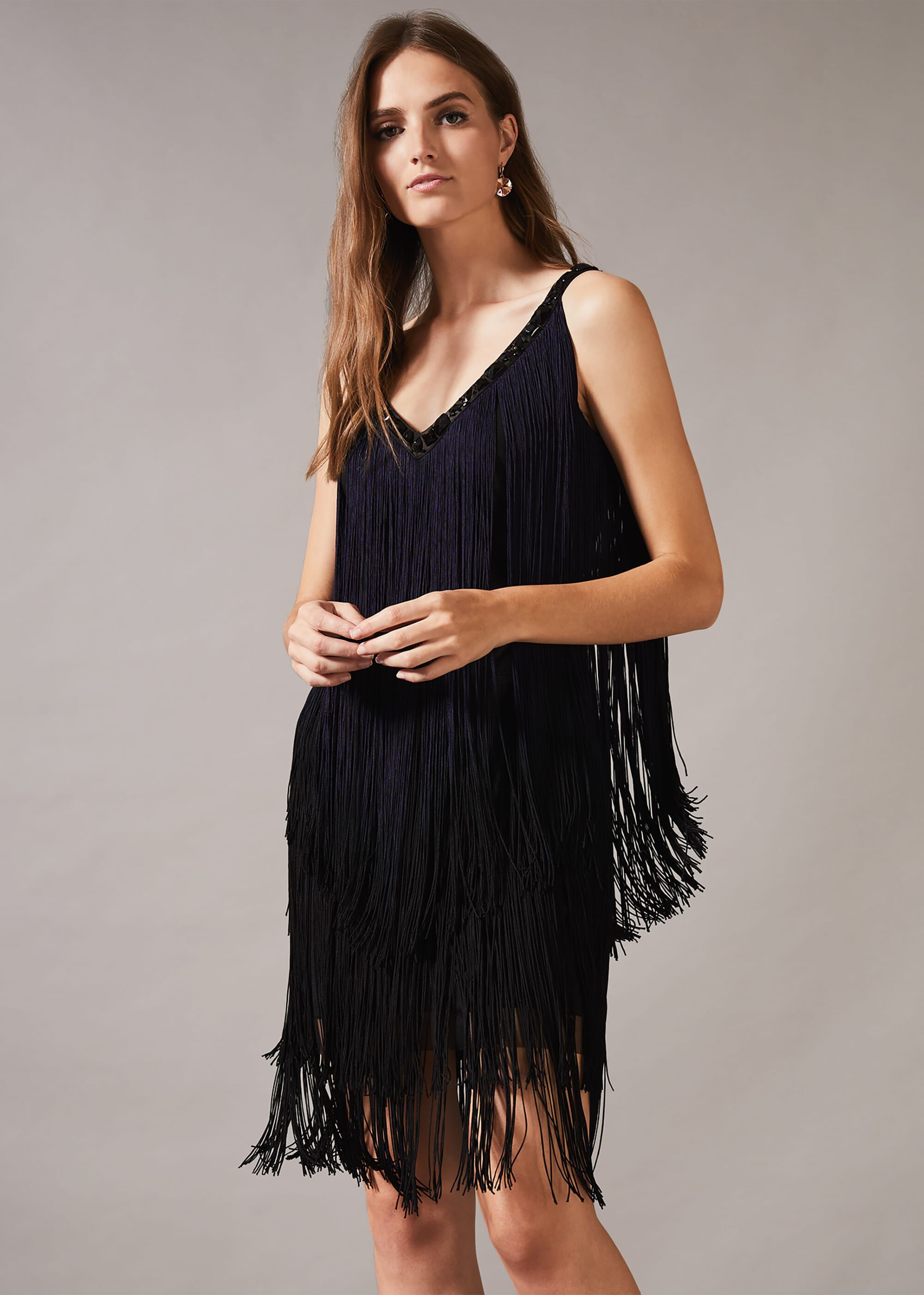 Phase Eight Missy Dip Dye Fringe Dress, Blue, Shift, Occasion Dress