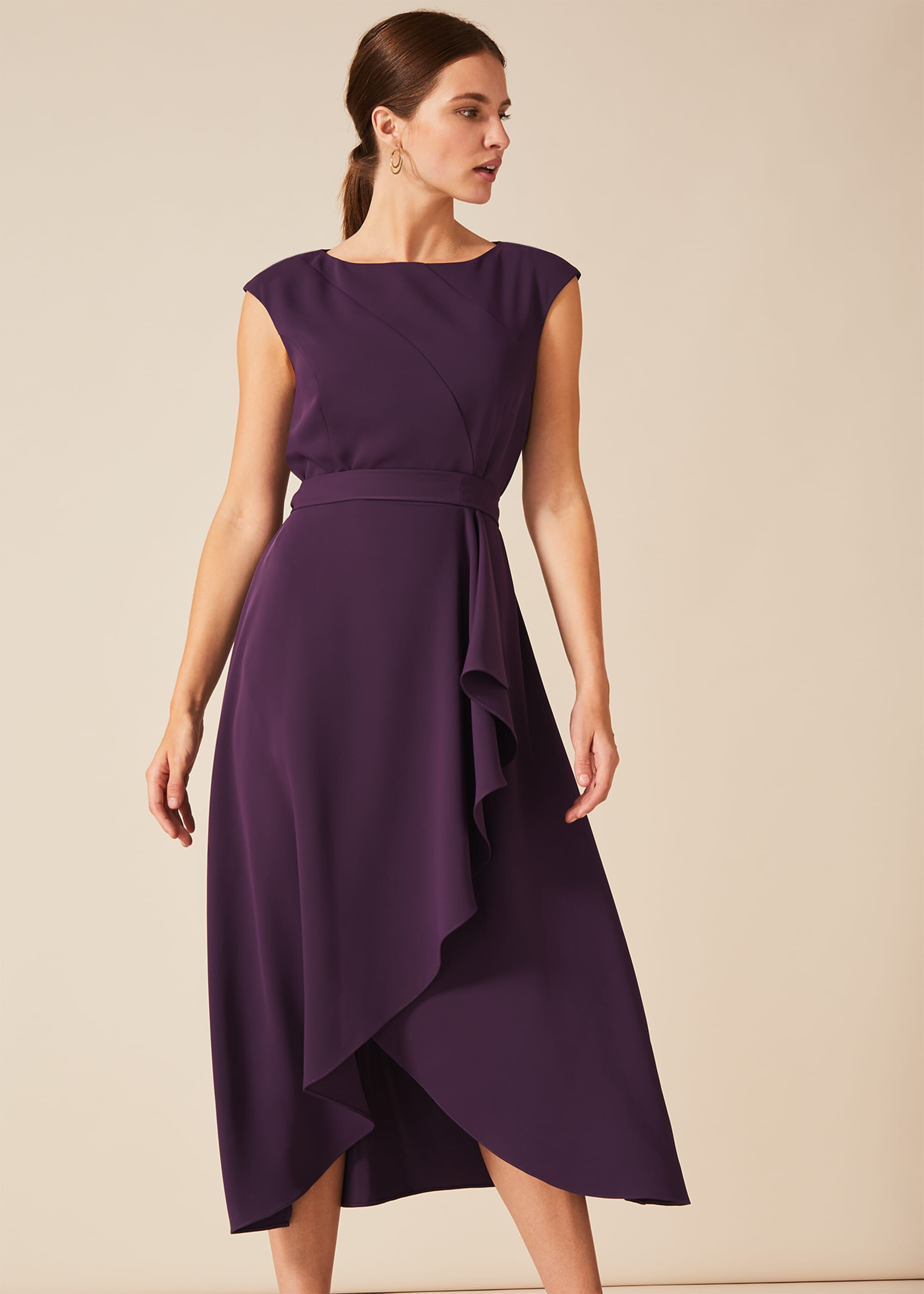 Phase Eight Rushelle Dress, Purple, Fit & Flare, Occasion Dress
