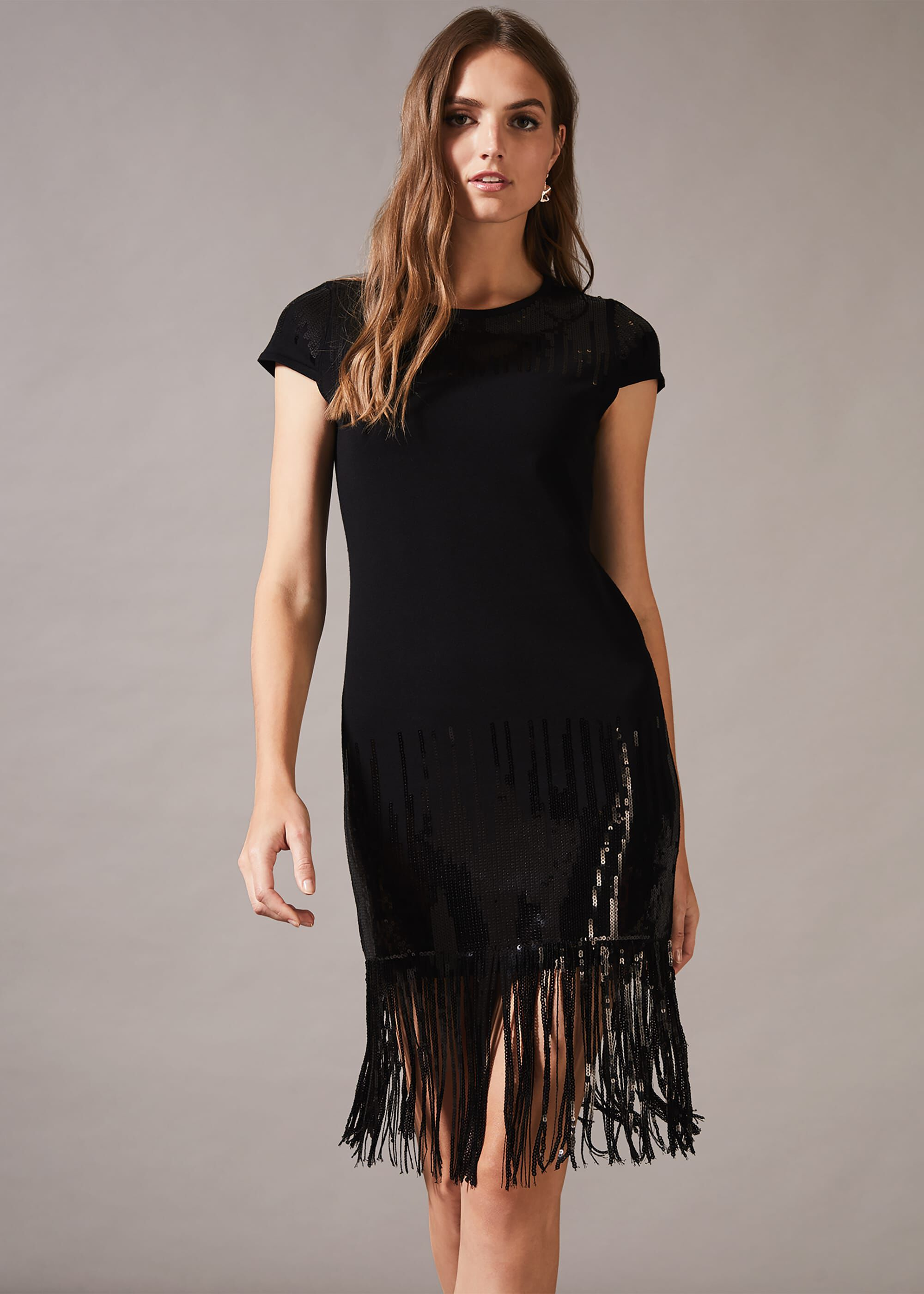 Phase Eight Ferne Fringe Sequin Dress, Black, Shift, Occasion Dress