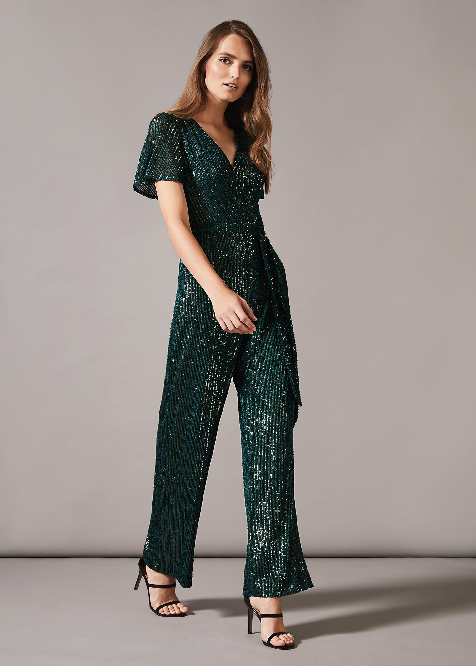 Phase Eight Alessandra Sequin Jumpsuit, Green, Jumpsuit