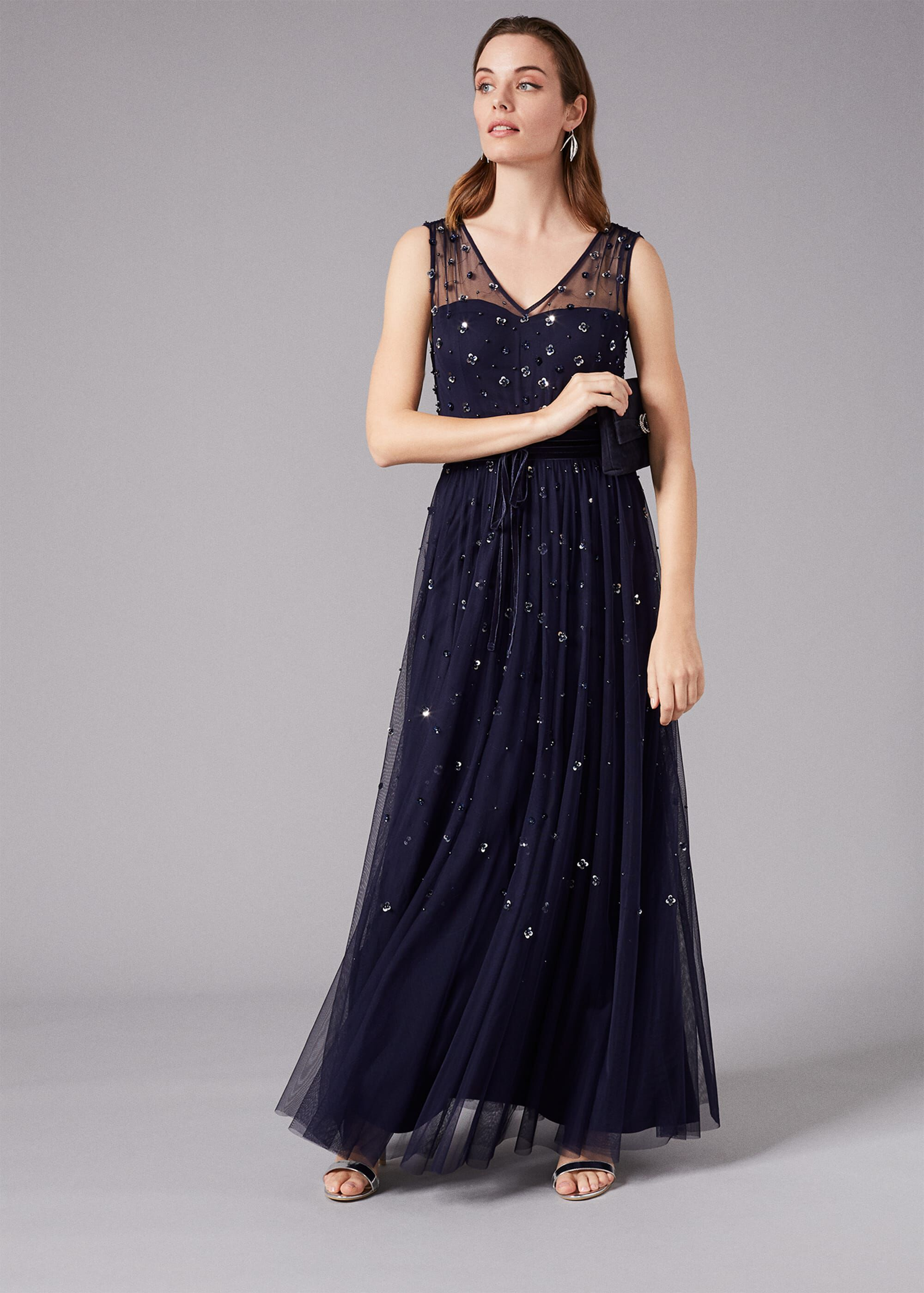 Phase Eight Marcia Sequin Tulle Dress, Blue, Maxi, Occasion Dress