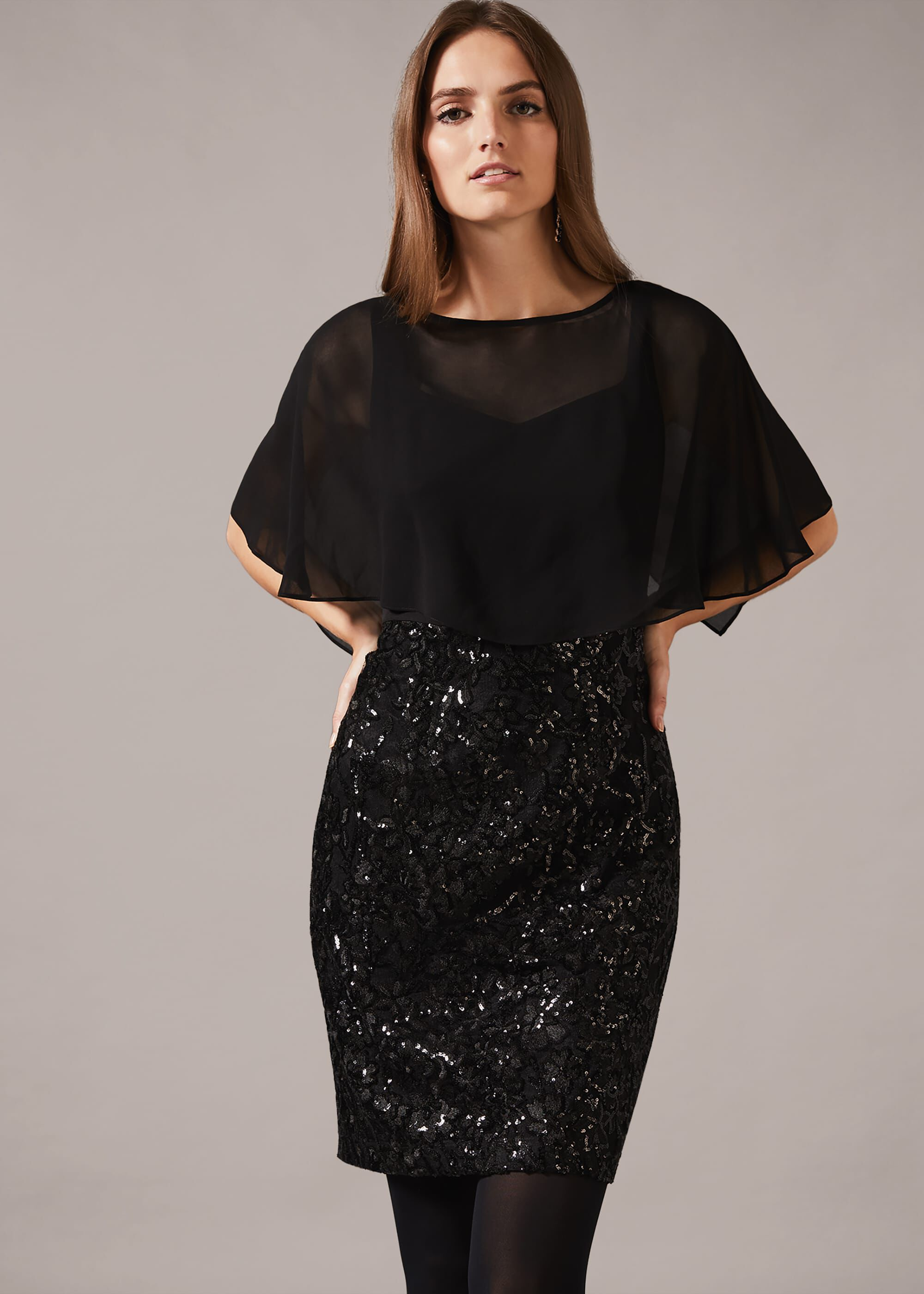 Phase Eight Marcy Sequin Skirt Dress, Black, Fitted