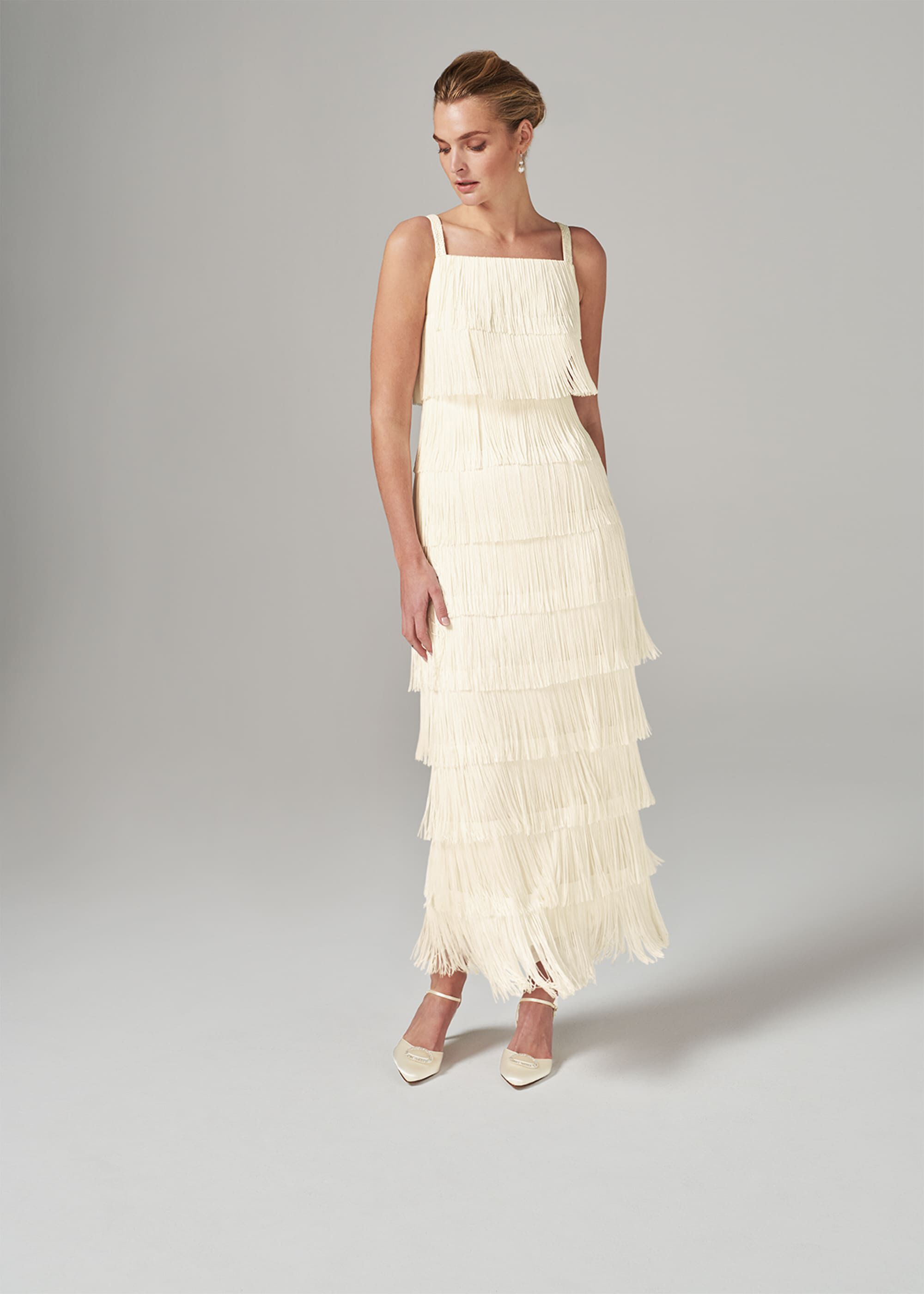 Vintage Style Wedding Dresses, Vintage Inspired Wedding Gowns Phase Eight Elecia Fringe Maxi Dress Cream Maxi £250.00 AT vintagedancer.com