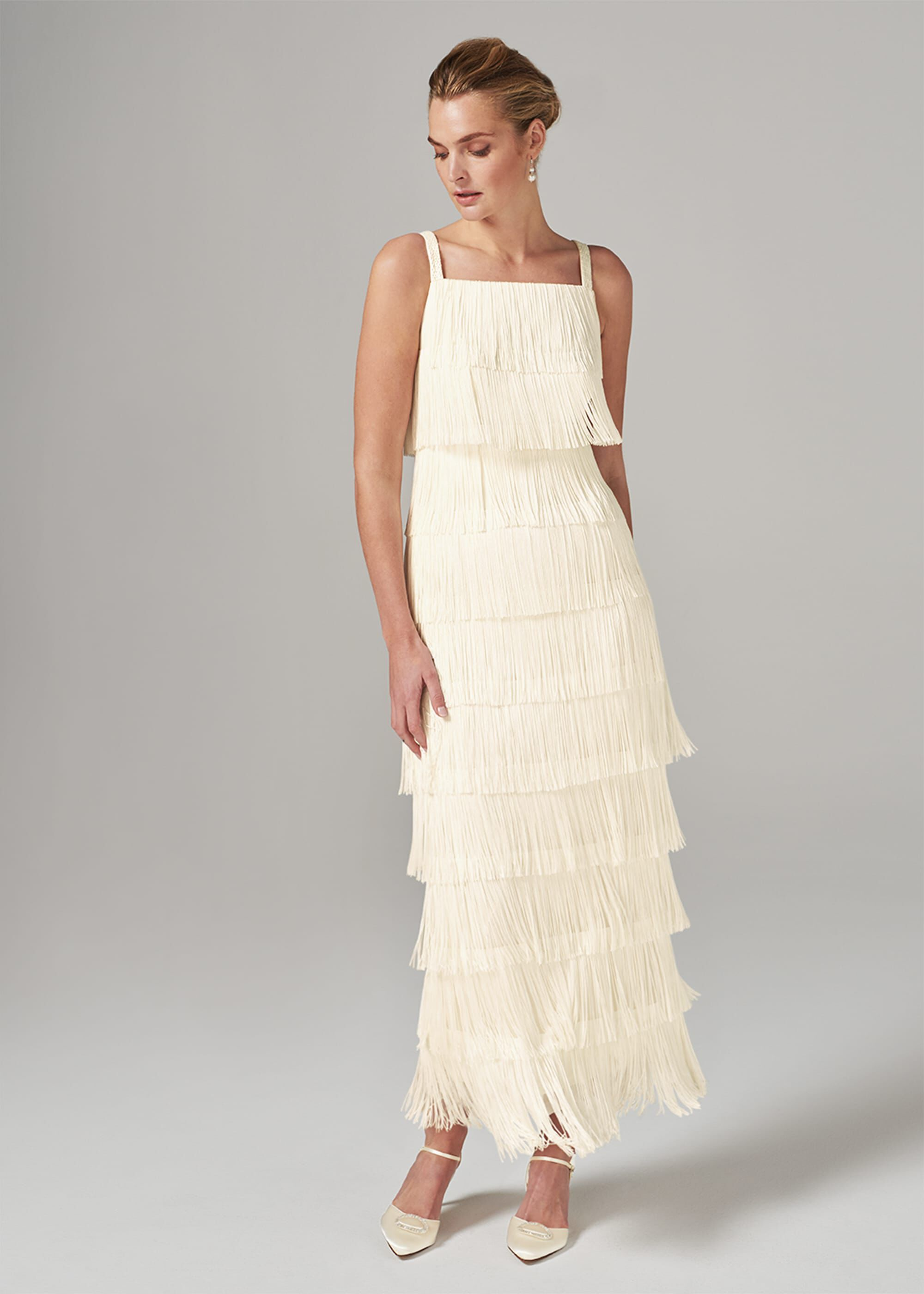1920s Wedding Dresses- Art Deco Wedding Dress, Gatsby Wedding Dress Phase Eight Elecia Fringe Maxi Dress Cream Maxi £187.50 AT vintagedancer.com