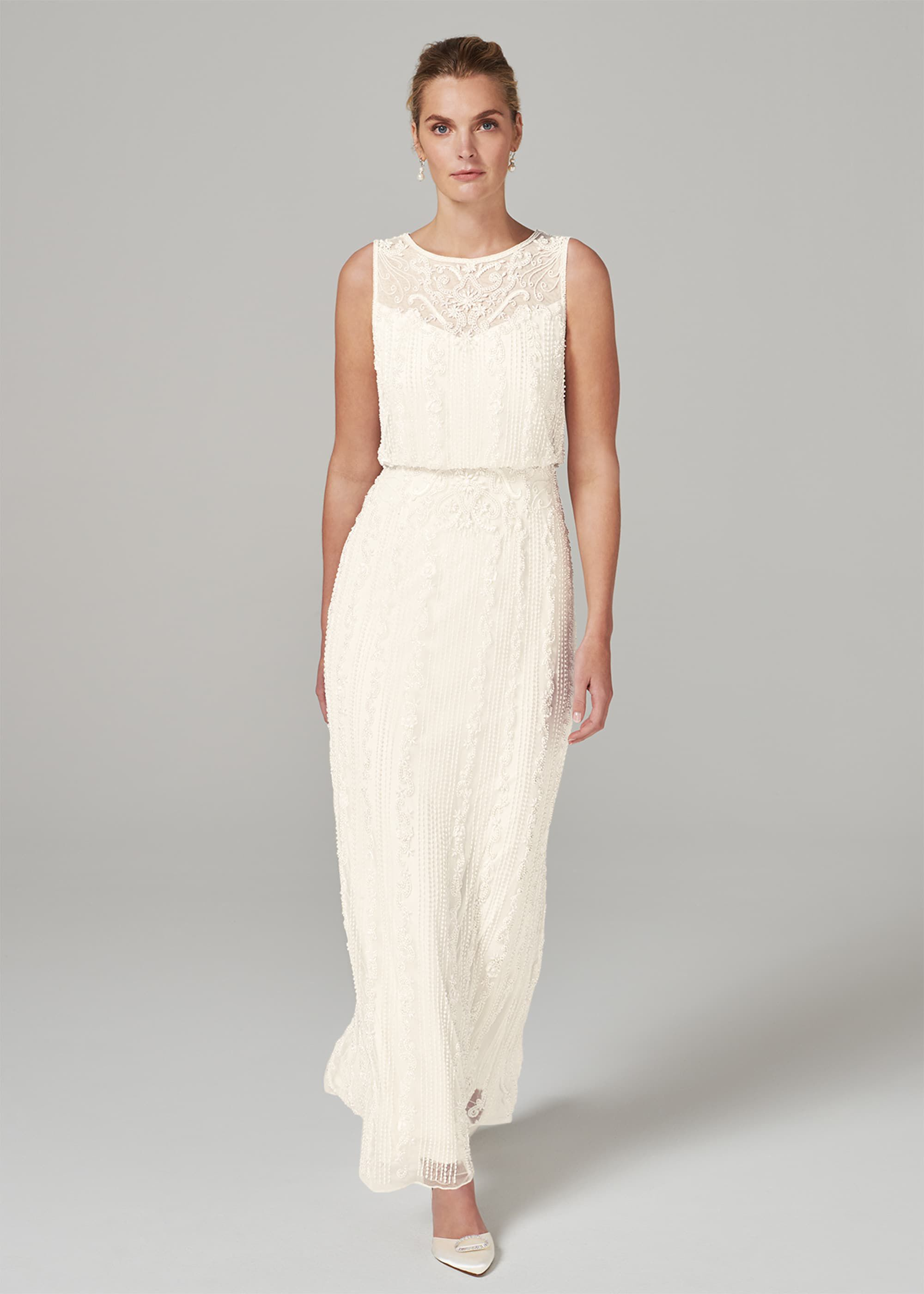 Phase Eight Evalina Embellished Wedding Dress, Cream, Maxi, Occasion Dress