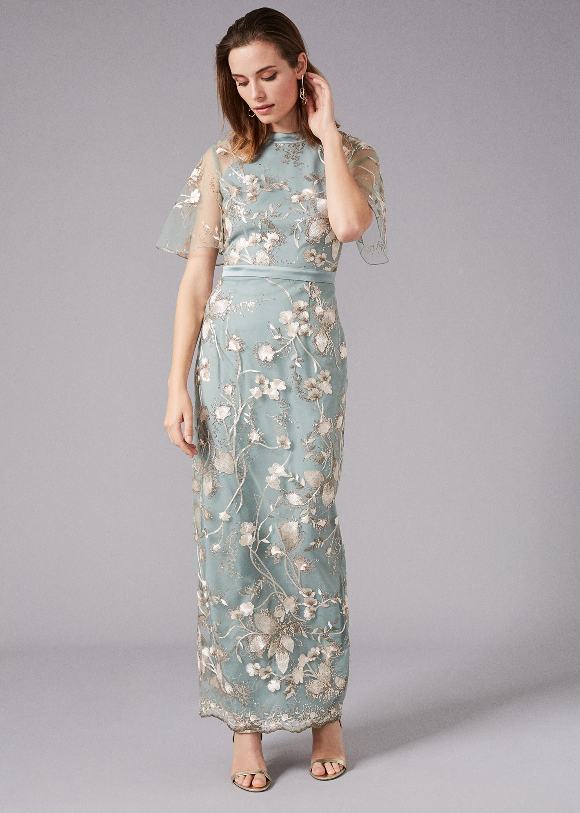 Old Fashioned Dresses | Old Dress Styles Phase Eight Glenda Floral Embroidered Dress Green Maxi Occasion Dress £275.00 AT vintagedancer.com