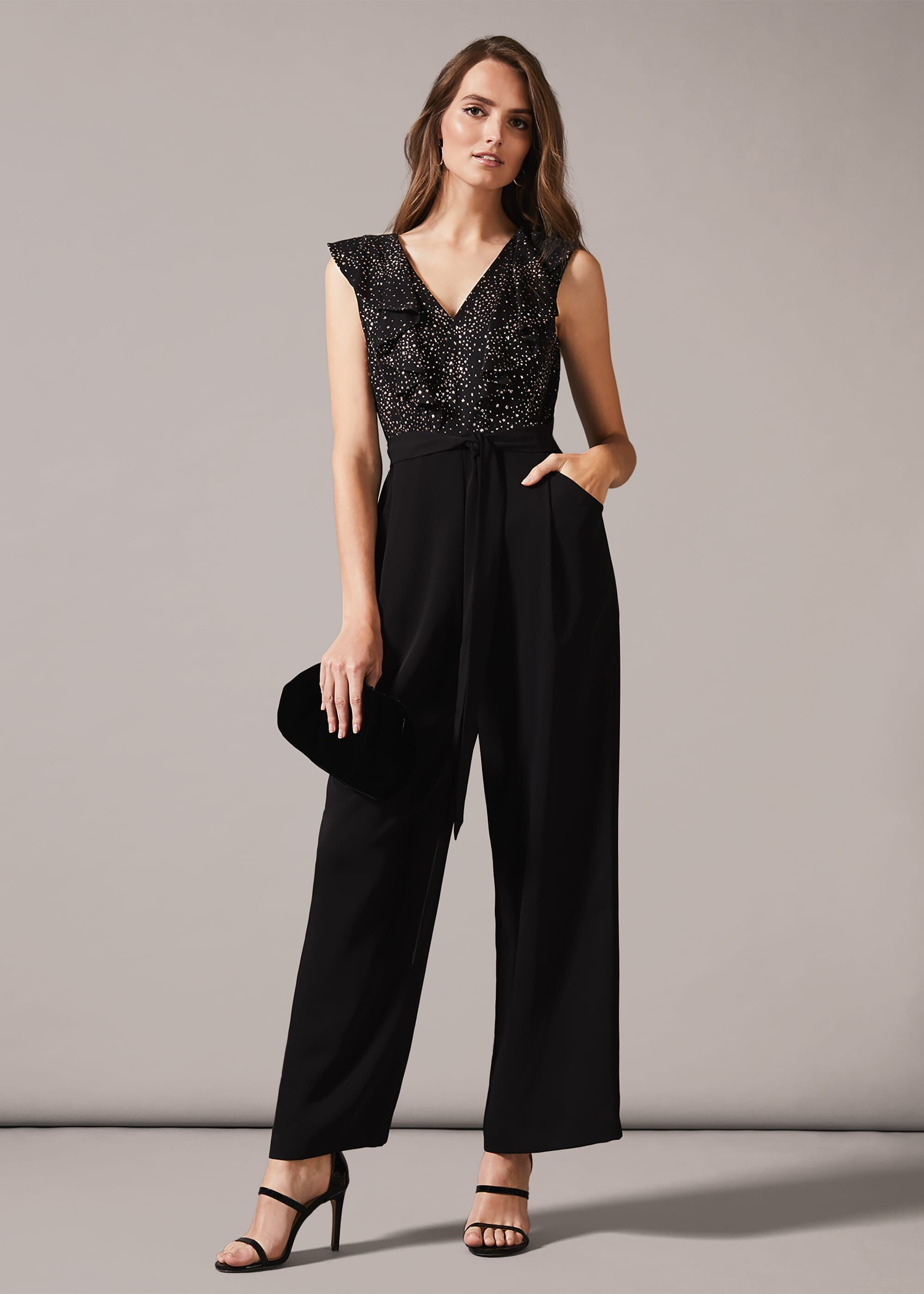 Phase Eight Garcia Star Print Jumpsuit, Black, Jumpsuit