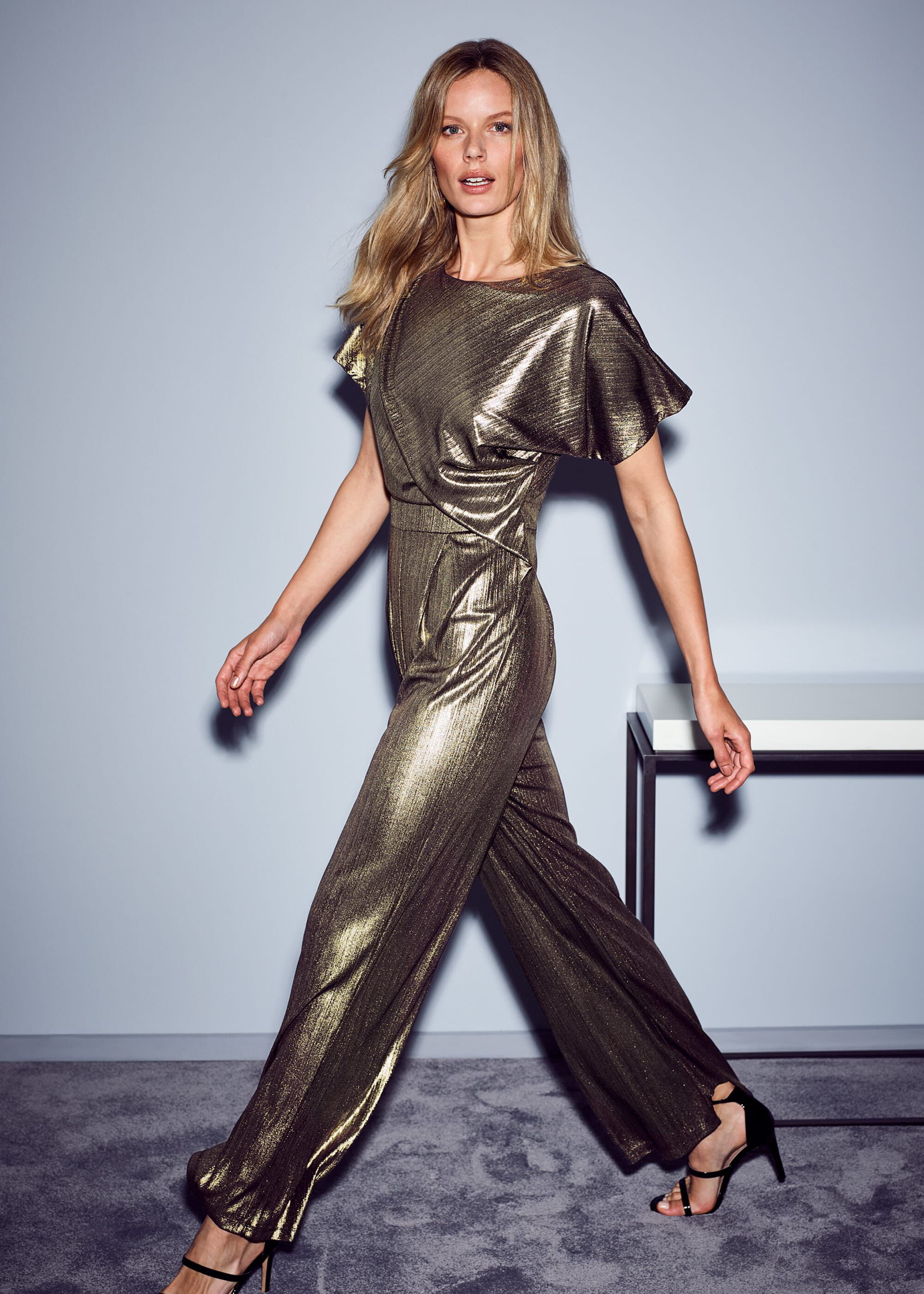 Phase Eight Gabriella Shimmer Jumpsuit, Metallic, Jumpsuit