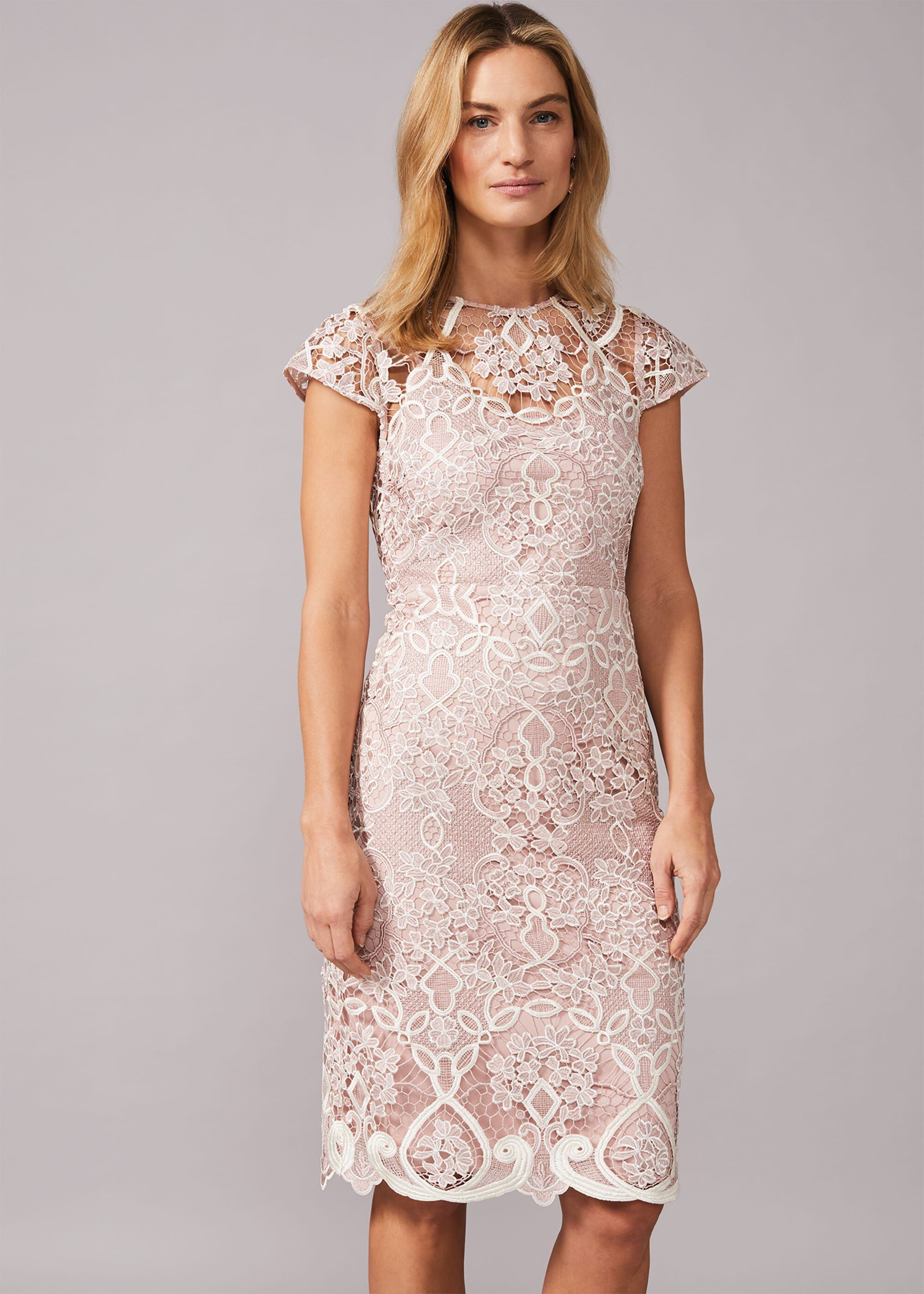 Phase Eight Frances Lace Fitted Dress, Pink, Fitted, Occasion Dress