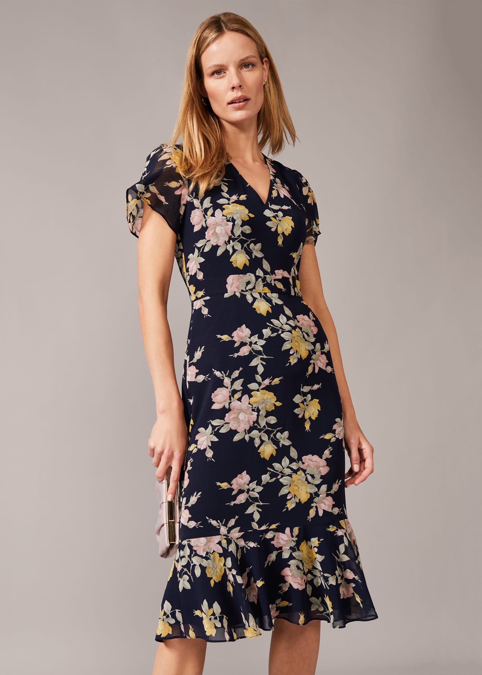 Phase Eight Melissa Georgette Floral Dress, Blue, Fitted, Occasion Dress