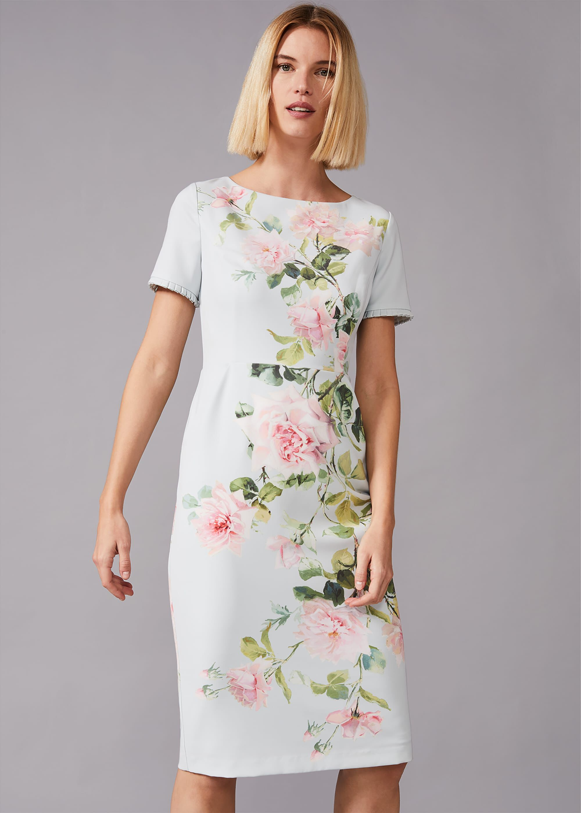 Phase Eight Shanea Fitted Floral Dress, Green, Fitted, Occasion Dress
