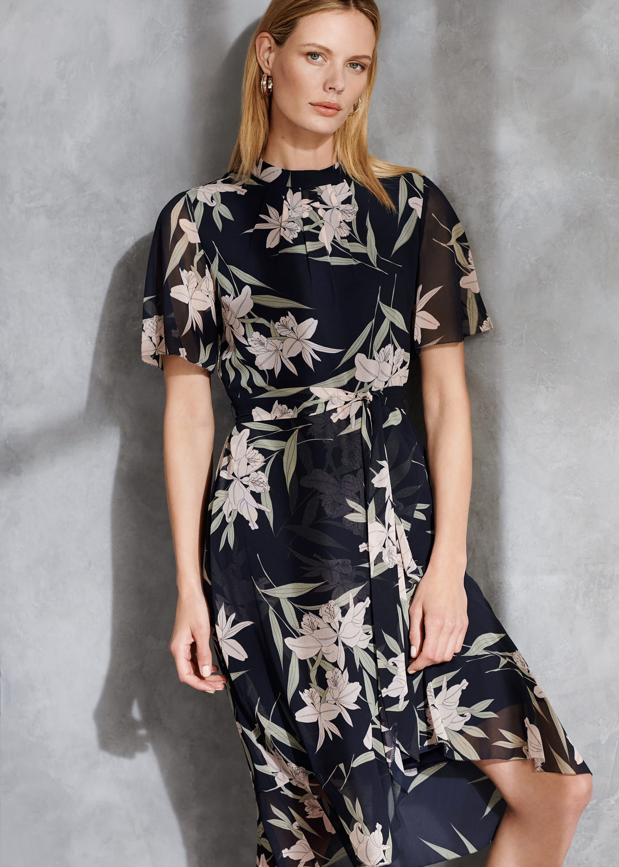 Phase Eight Gracen Palm Print Tea Dress, Blue, Asymmetric, Occasion Dress