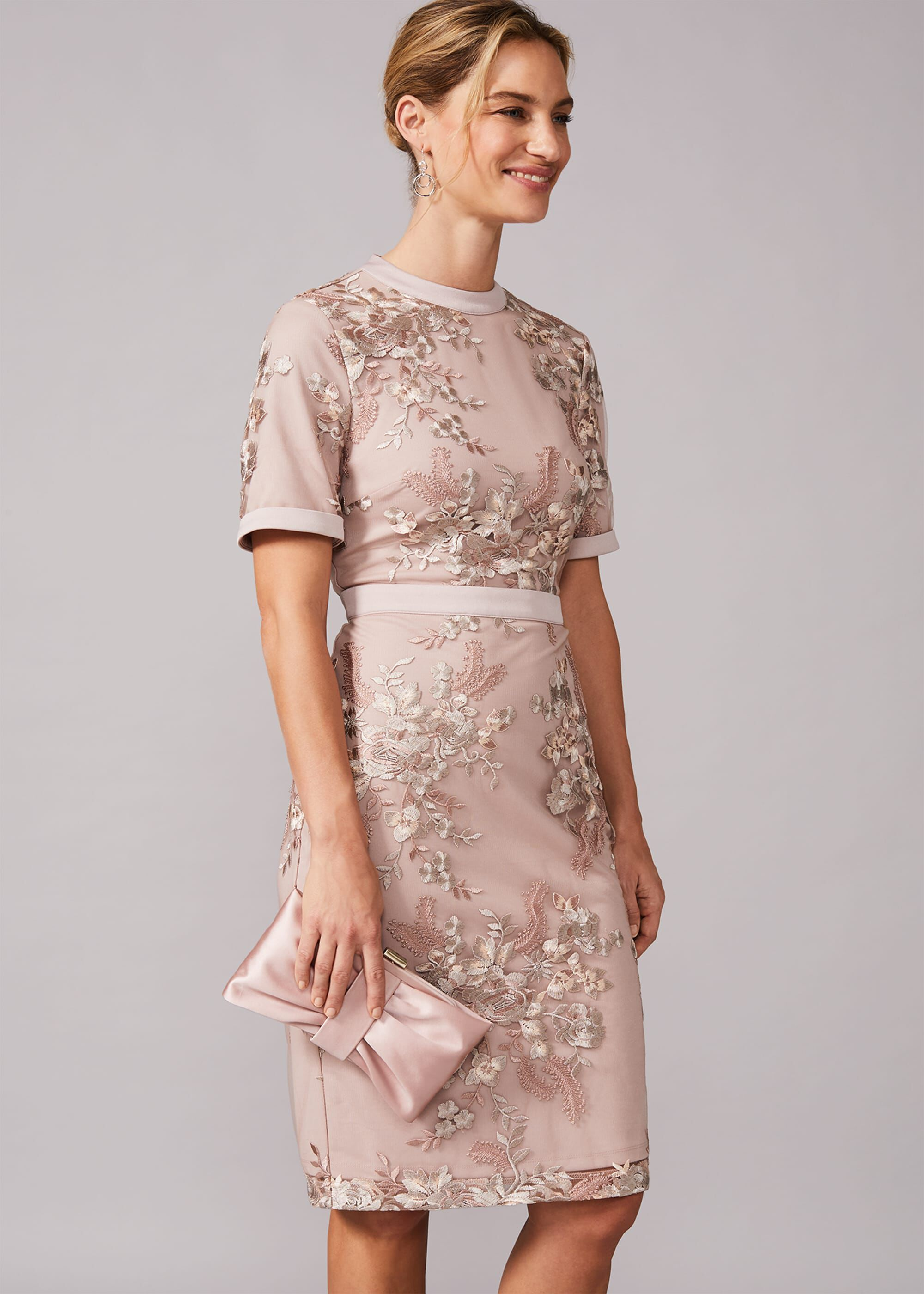 Phase Eight Evena Embroidered Fitted Dress, Neutral, Fitted, Occasion Dress