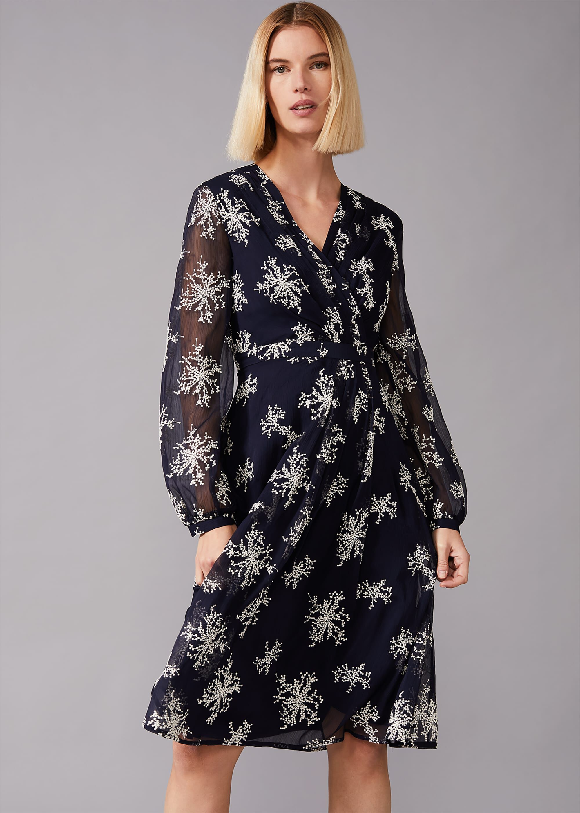 Phase Eight Nicki Embroidered Sprig Tea Dress, Blue, Fit & Flare