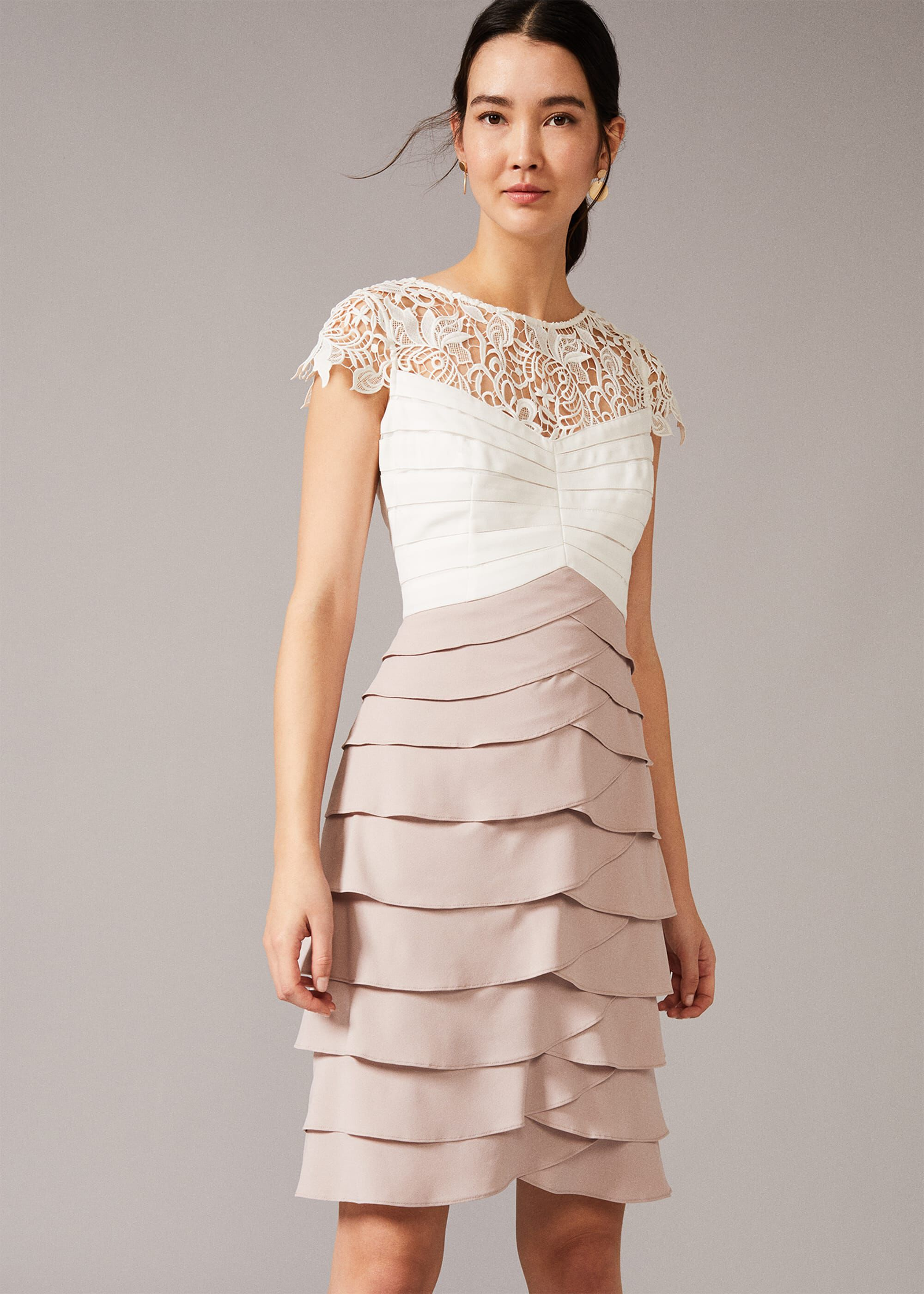Phase Eight Faith Contrast Fitted Dress, Cream, Fitted, Occasion Dress