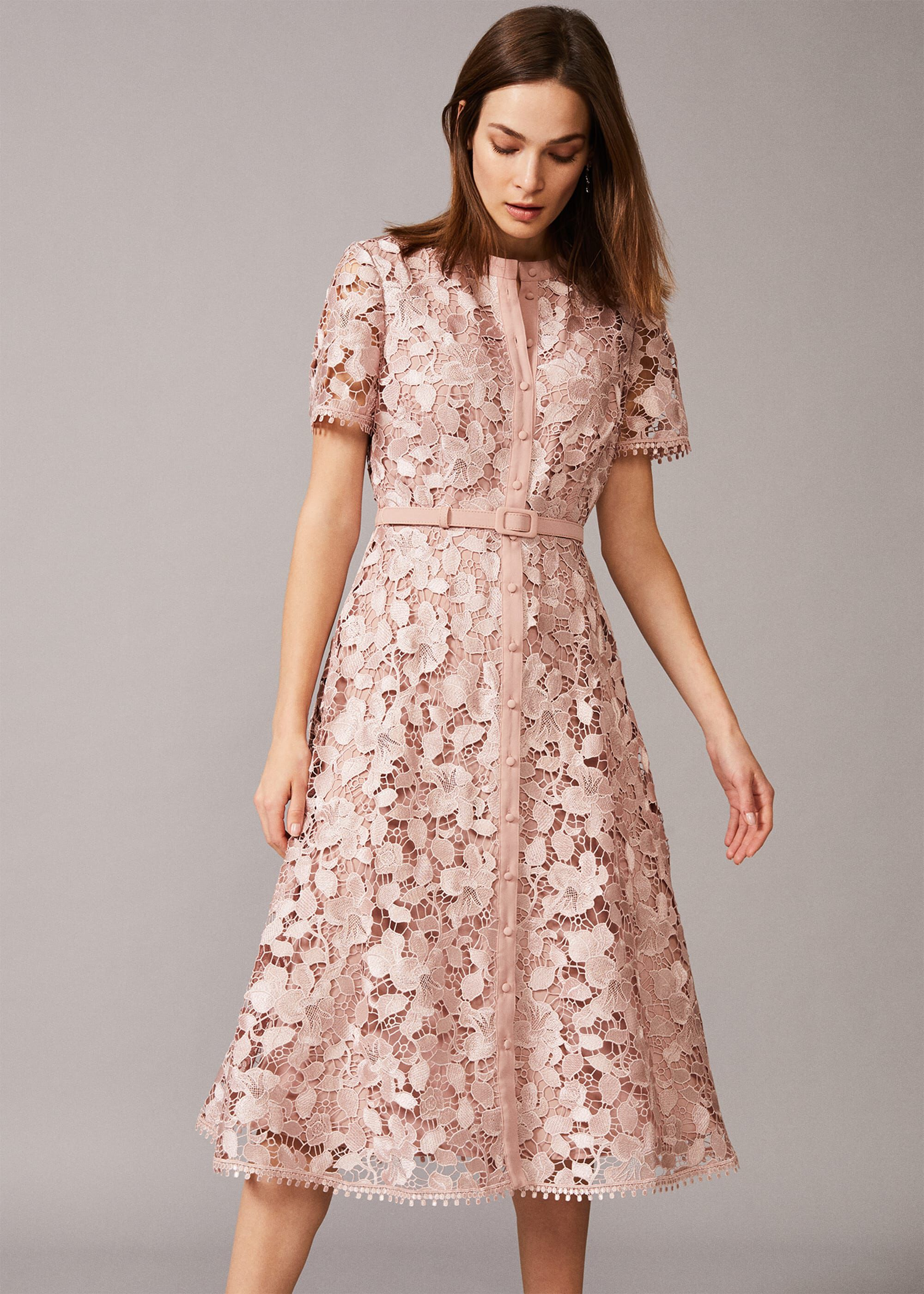 Phase Eight Samana Lace Shirt Dress, Pink, Shirt, Occasion Dress