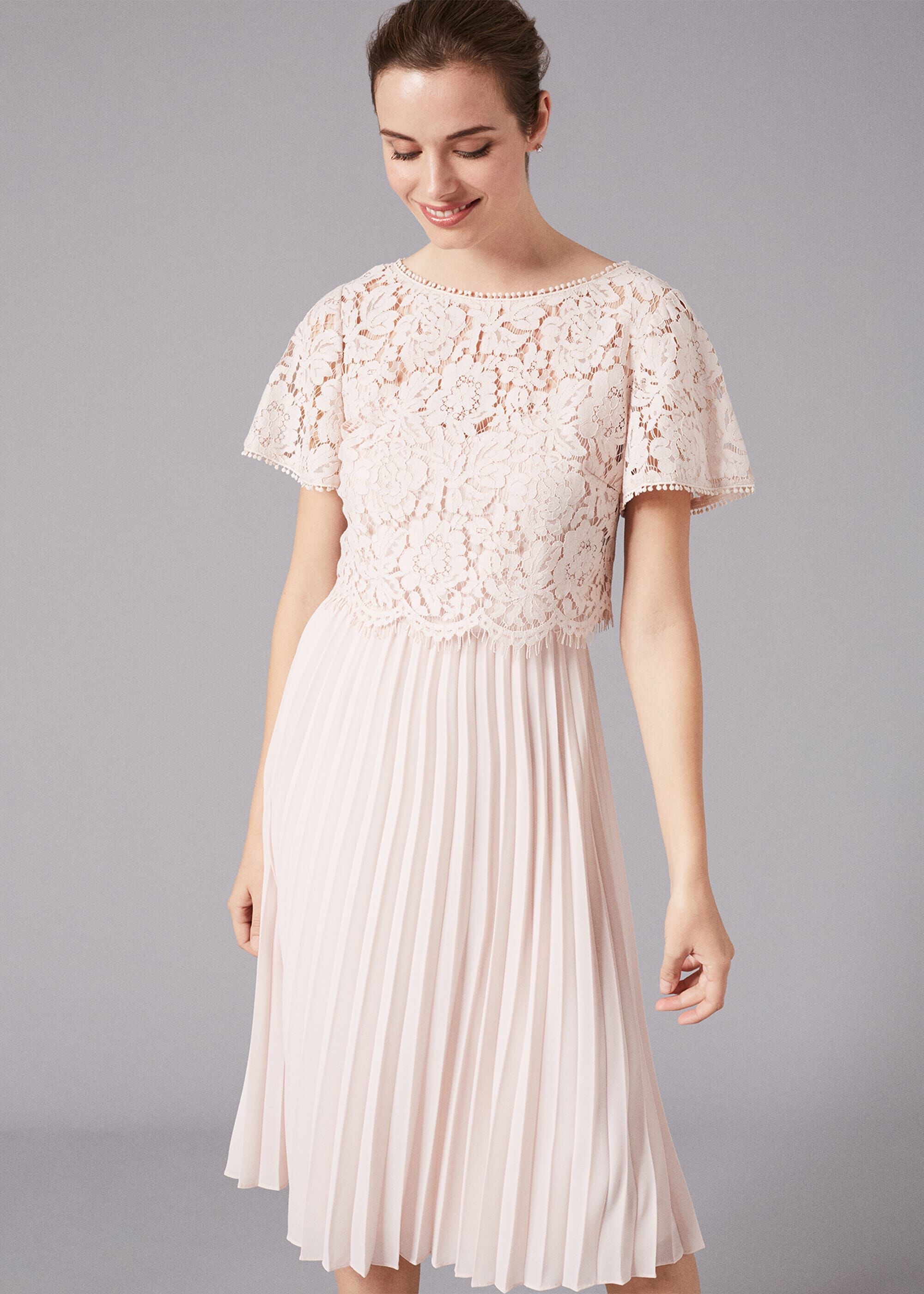 Phase Eight Bettina Lace Top Pleated Dress, Pink, Fit & Flare, Occasion Dress