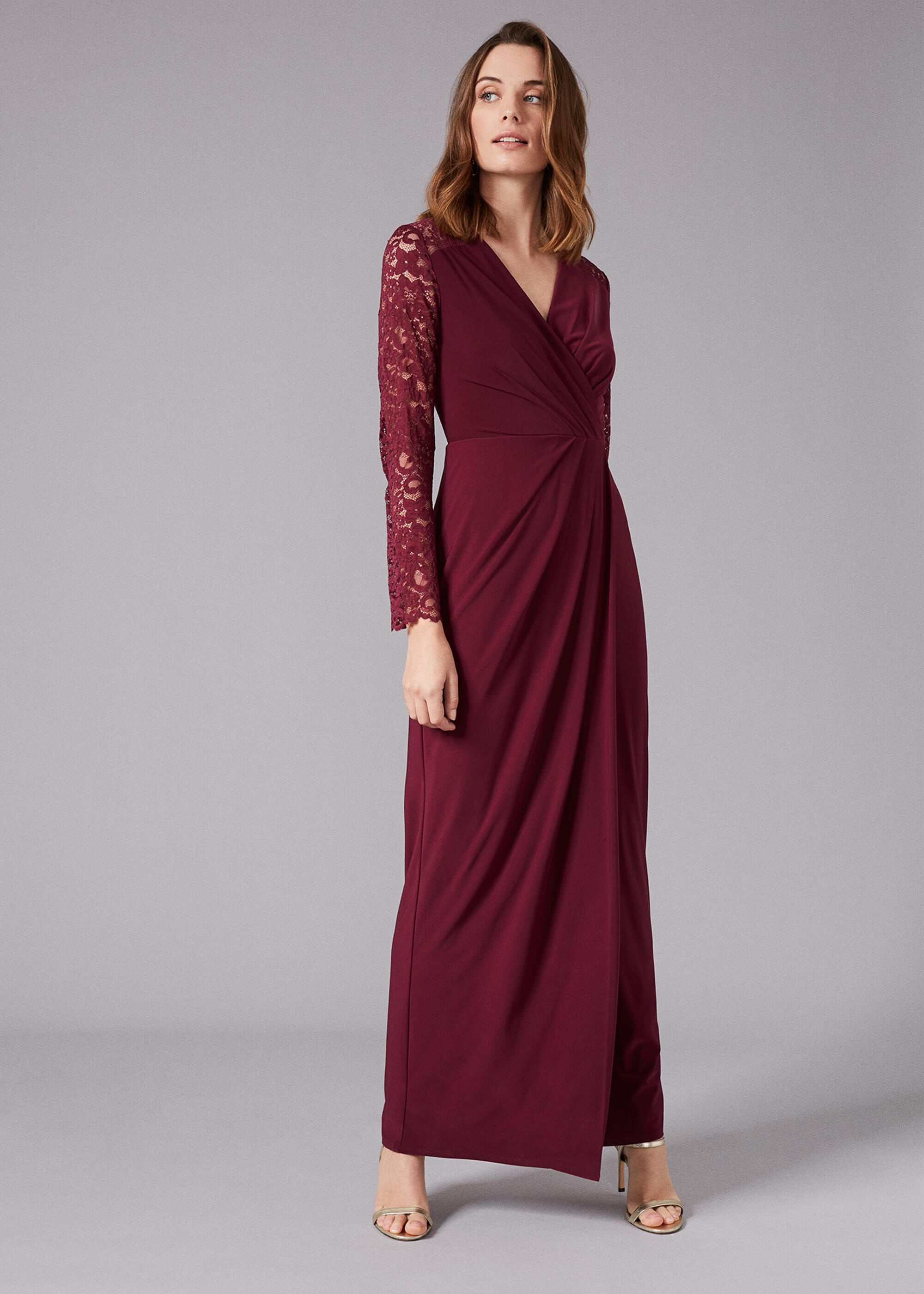 Phase Eight Elanor Lace Maxi Dress, Red, Maxi