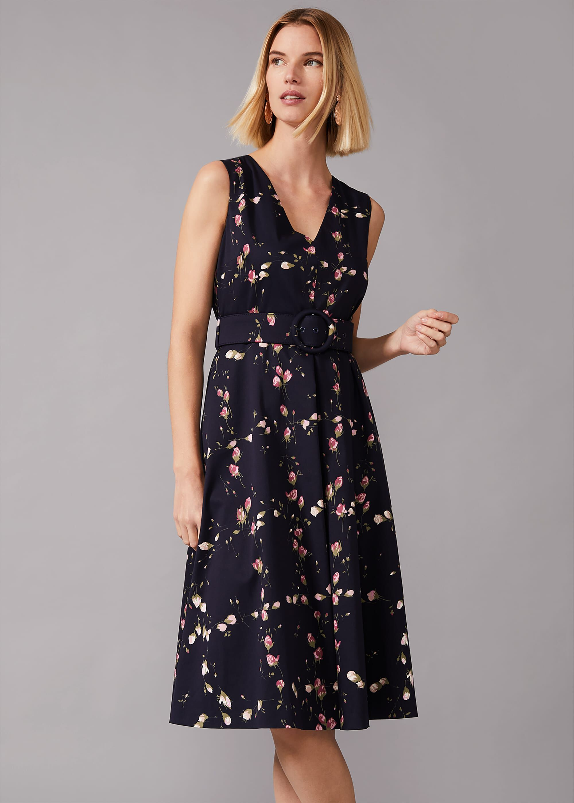 Phase Eight Nala Floral Fit And Flare Dress, Blue, Fit & Flare, Occasion Dress