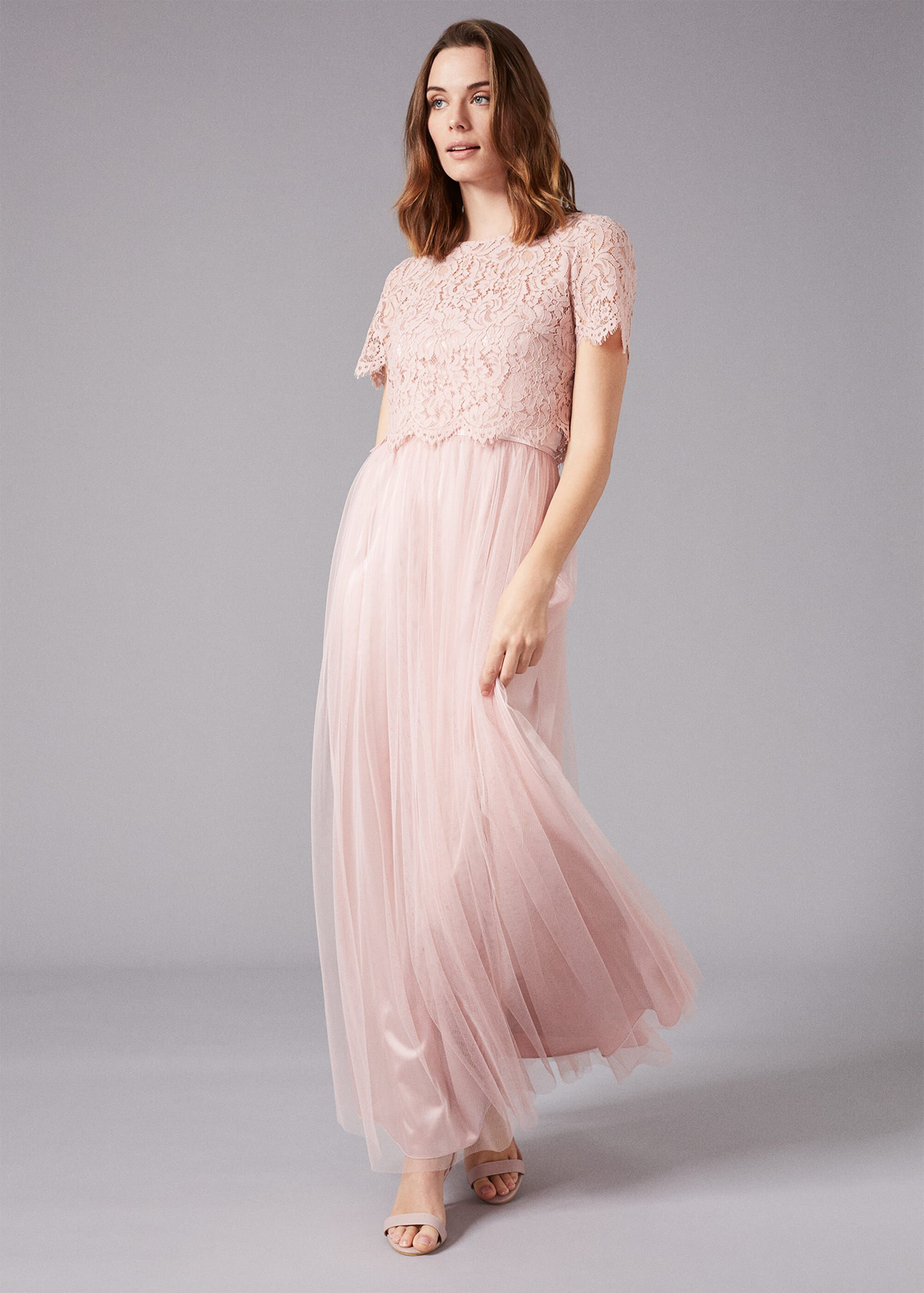 Phase Eight Kiera Lace Tulle Maxi Dress, Pink, Maxi, Occasion Dress