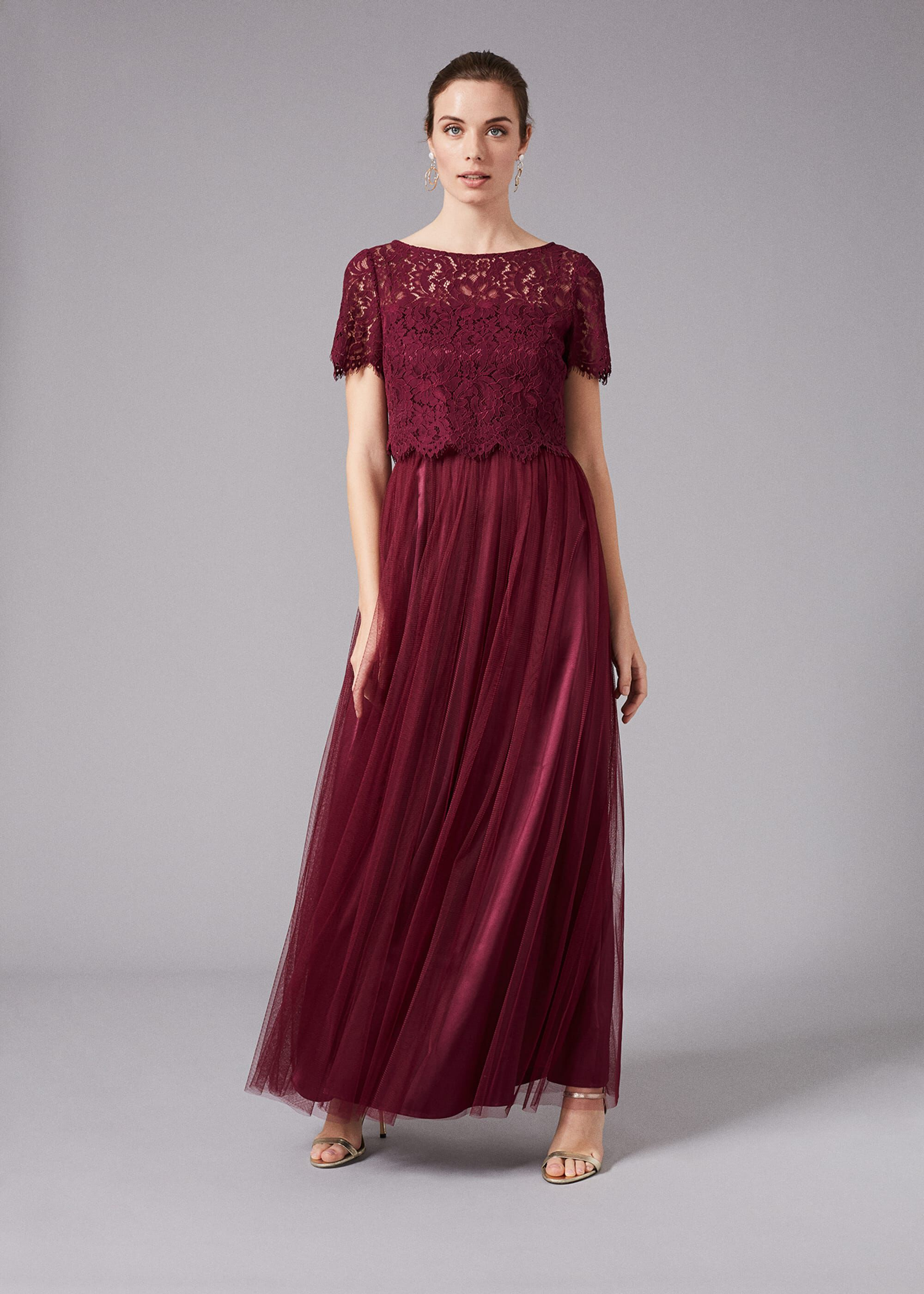 Phase Eight Kiera Lace Tulle Maxi Dress, Red, Maxi, Occasion Dress